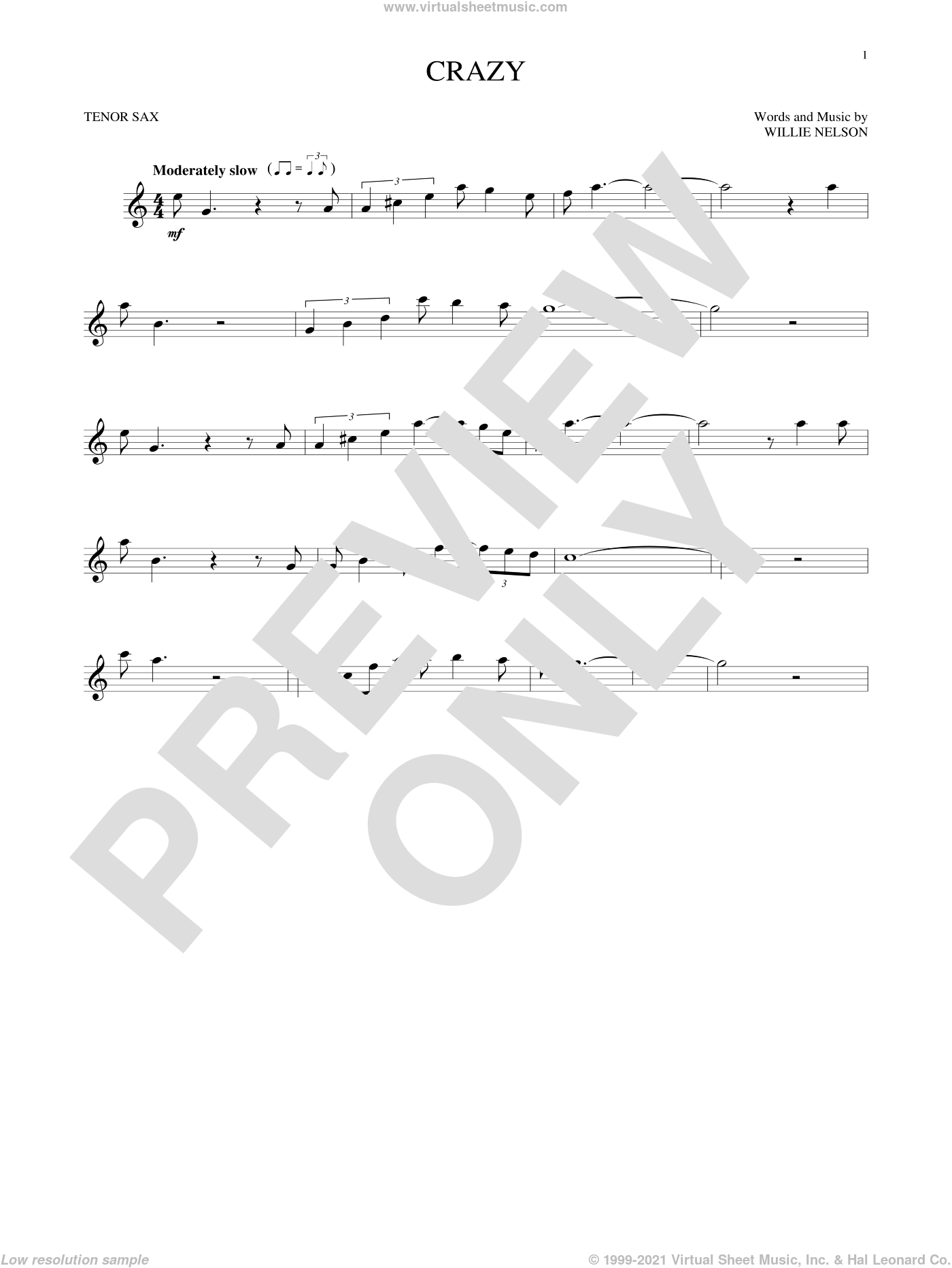 Crazy sheet music for tenor saxophone solo by Willie Nelson and Patsy Cline, intermediate skill level
