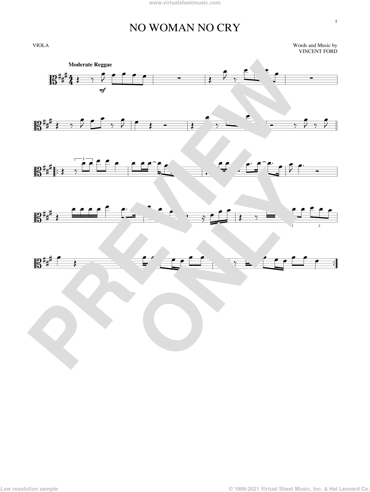 No Woman No Cry sheet music for viola solo by Bob Marley and Vincent Ford, intermediate skill level