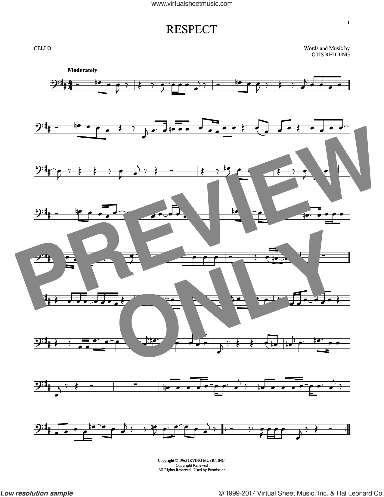 Respect sheet music for cello solo by Aretha Franklin and Otis Redding, intermediate