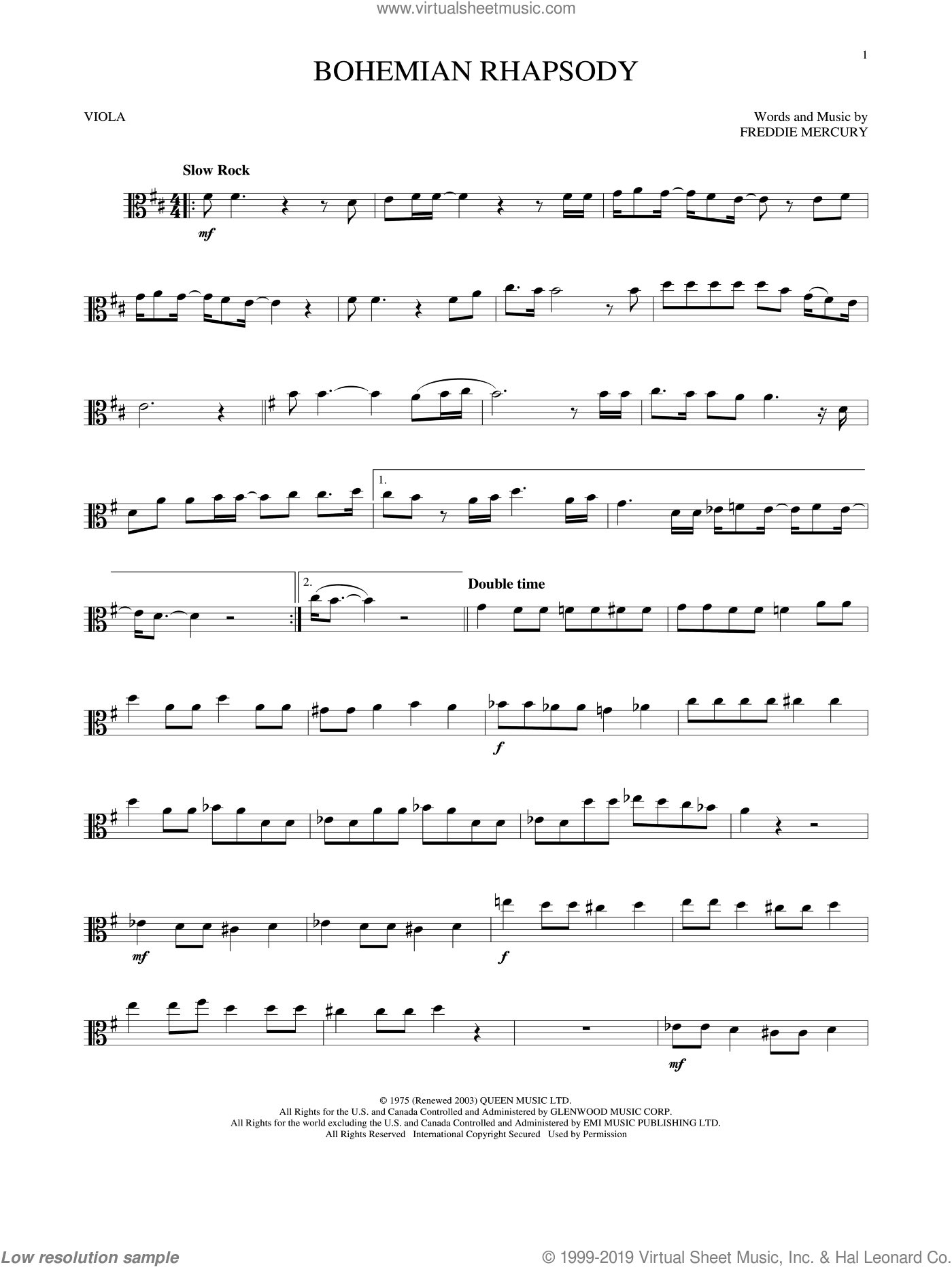 Bohemian Rhapsody sheet music for viola solo by Queen and Freddie Mercury, intermediate skill level
