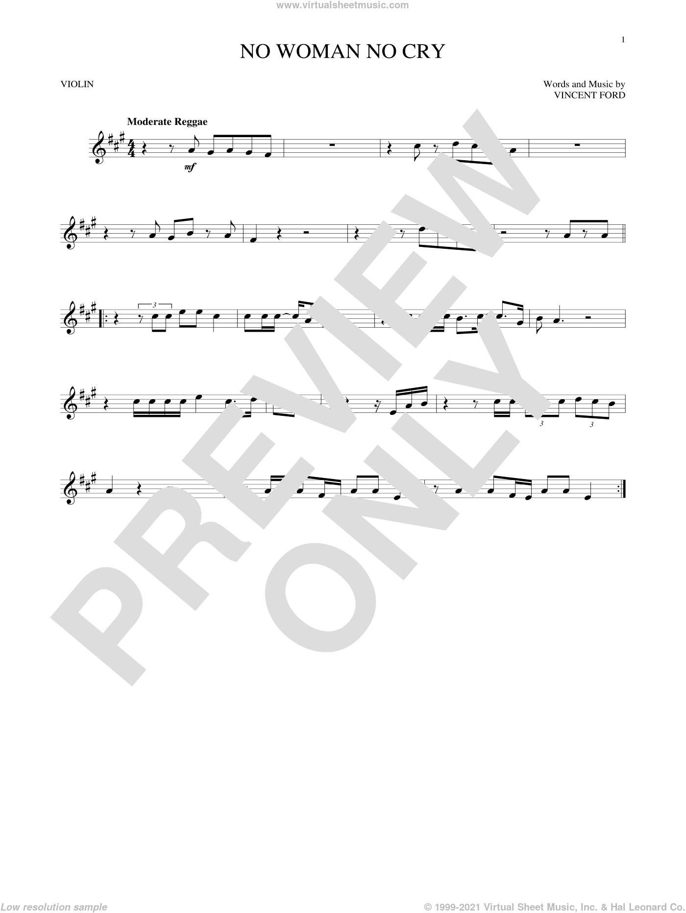 No Woman No Cry sheet music for violin solo by Bob Marley and Vincent Ford, intermediate skill level