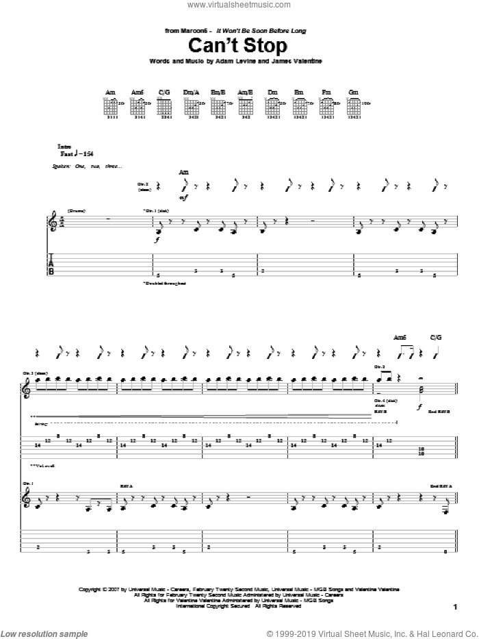 Can't Stop sheet music for guitar (tablature) by Maroon 5, Adam Levine and James Valentine, intermediate. Score Image Preview.