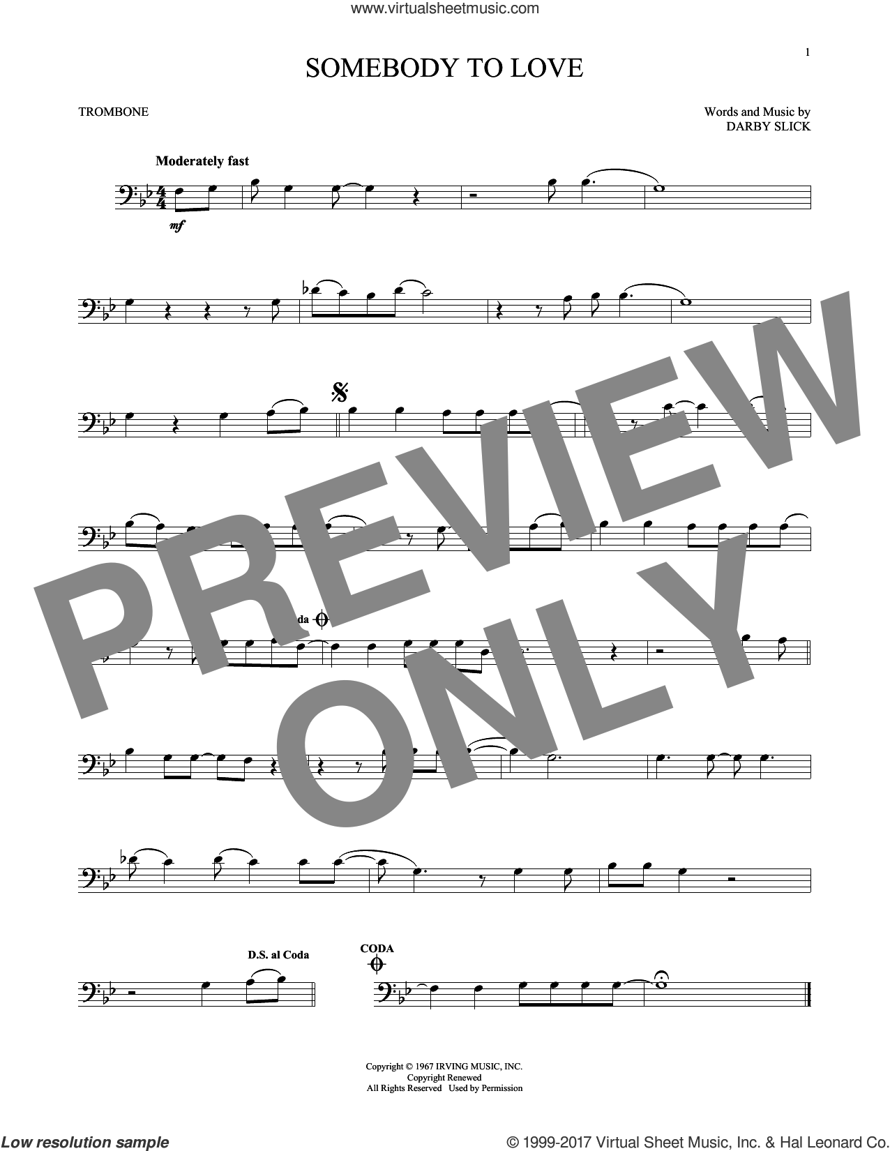 Somebody To Love sheet music for trombone solo by Jefferson Airplane and Darby Slick, intermediate skill level