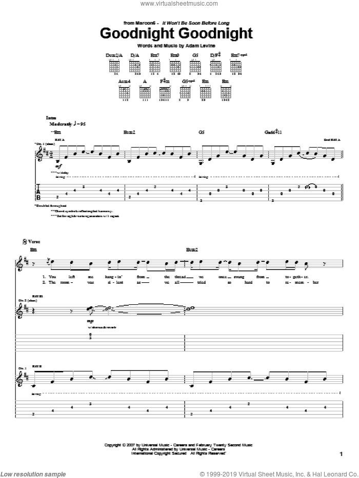 Goodnight Goodnight sheet music for guitar (tablature) by Maroon 5 and Adam Levine, intermediate. Score Image Preview.