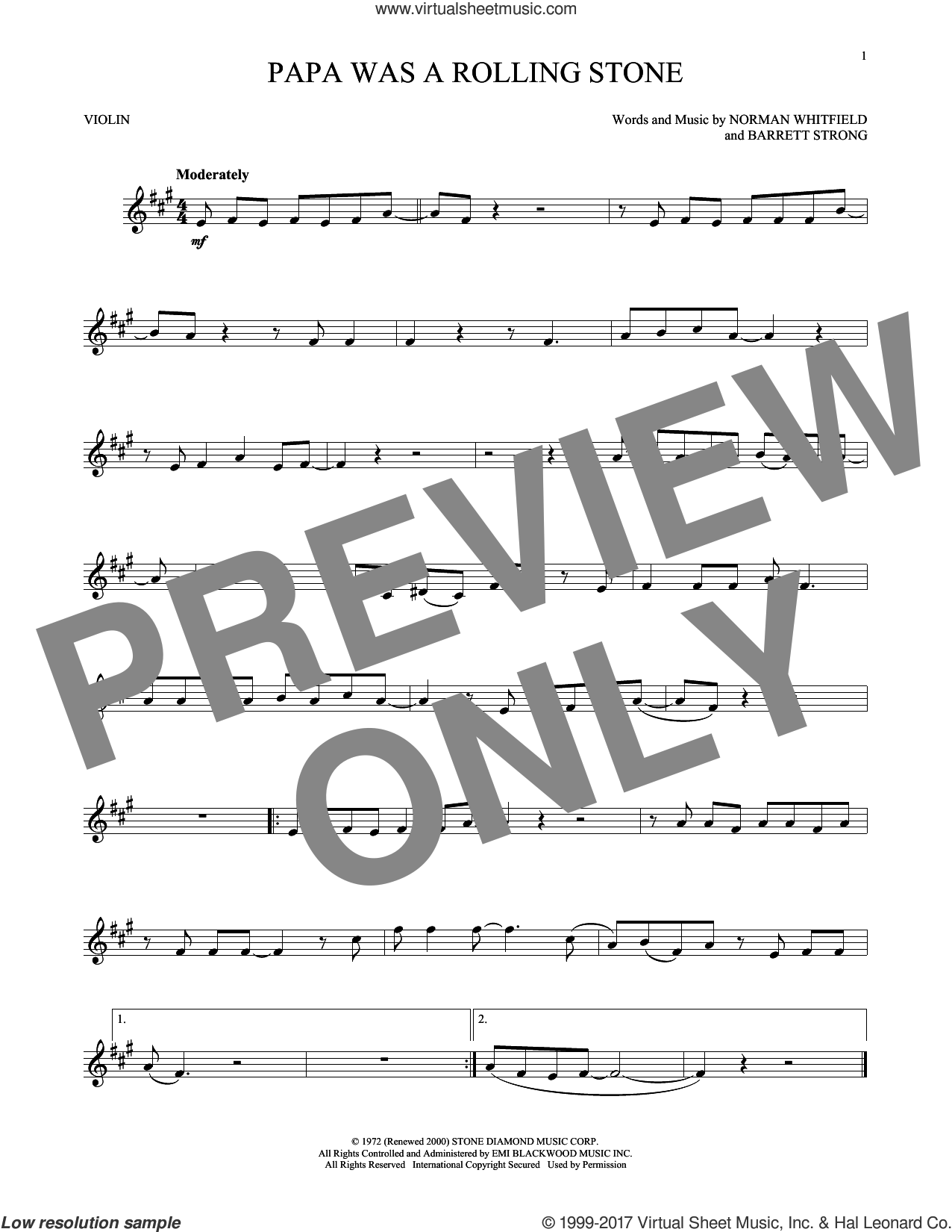 Papa Was A Rollin' Stone sheet music for violin solo by The Temptations, Barrett Strong and Norman Whitfield, intermediate skill level