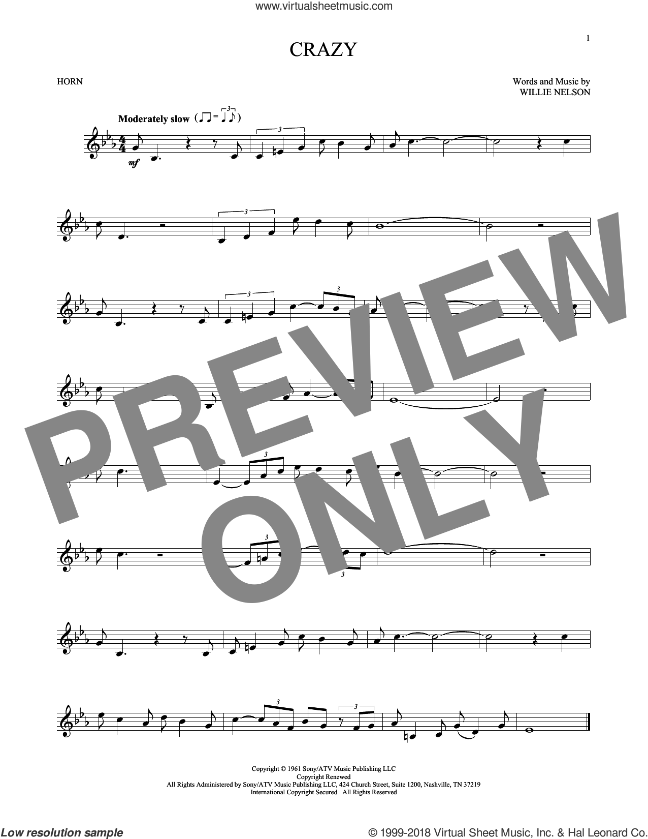 Crazy sheet music for horn solo by Willie Nelson and Patsy Cline, intermediate skill level