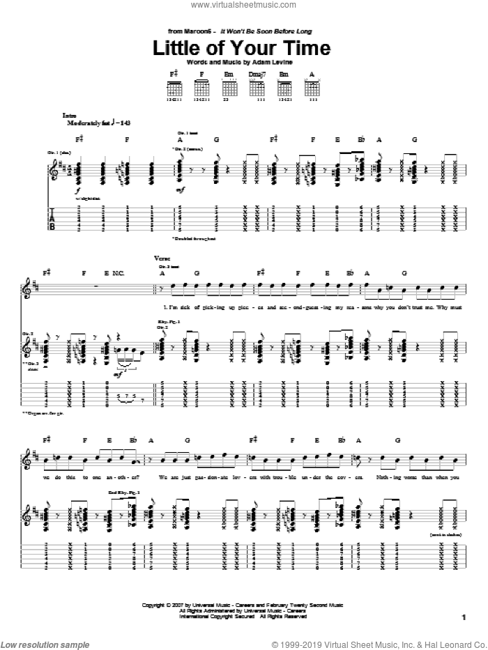 Little Of Your Time sheet music for guitar (tablature) by Maroon 5 and Adam Levine, intermediate guitar (tablature). Score Image Preview.