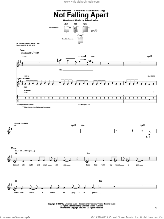 Not Falling Apart sheet music for guitar (tablature) by Maroon 5 and Adam Levine, intermediate guitar (tablature). Score Image Preview.
