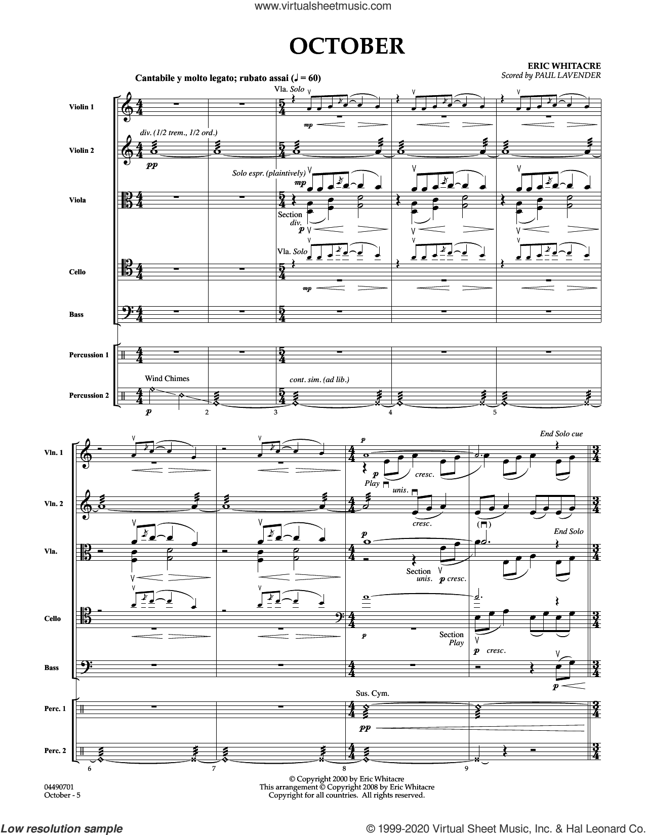 October (arr. Paul Lavender) (COMPLETE) sheet music for orchestra by Paul Lavender and Eric Whitacre, intermediate skill level