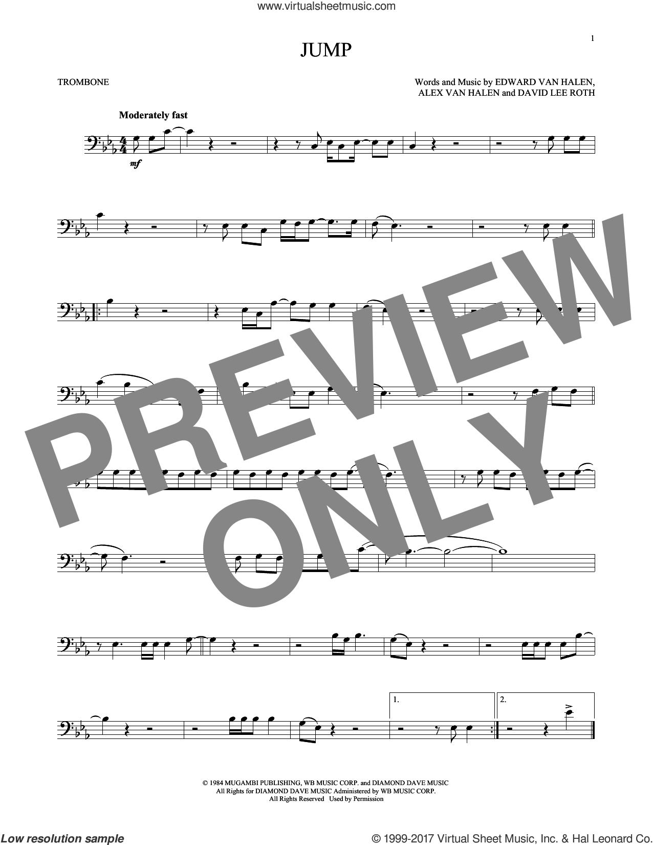 Jump sheet music for trombone solo by Edward Van Halen, Alex Van Halen and David Lee Roth, intermediate skill level