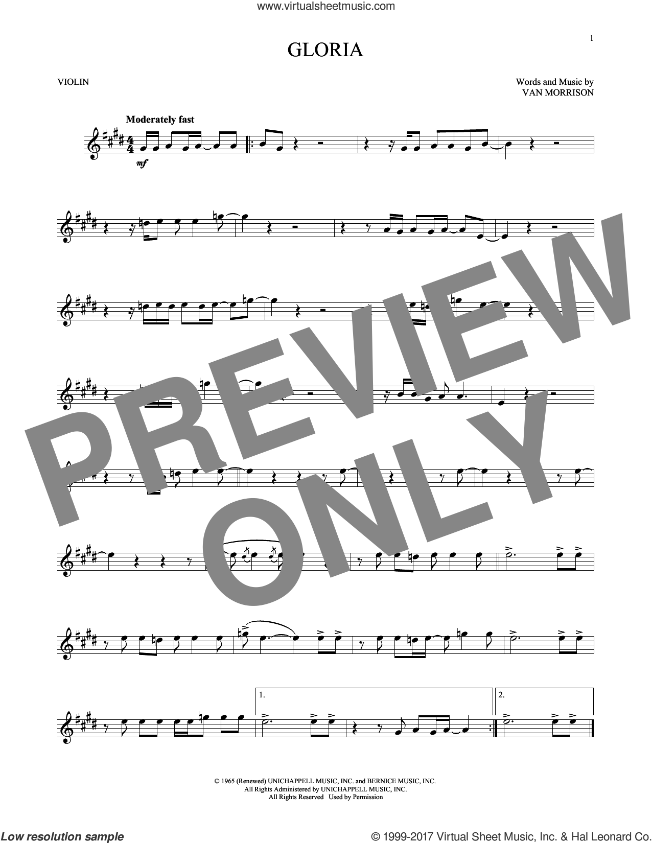 Gloria sheet music for violin solo by Van Morrison, intermediate. Score Image Preview.