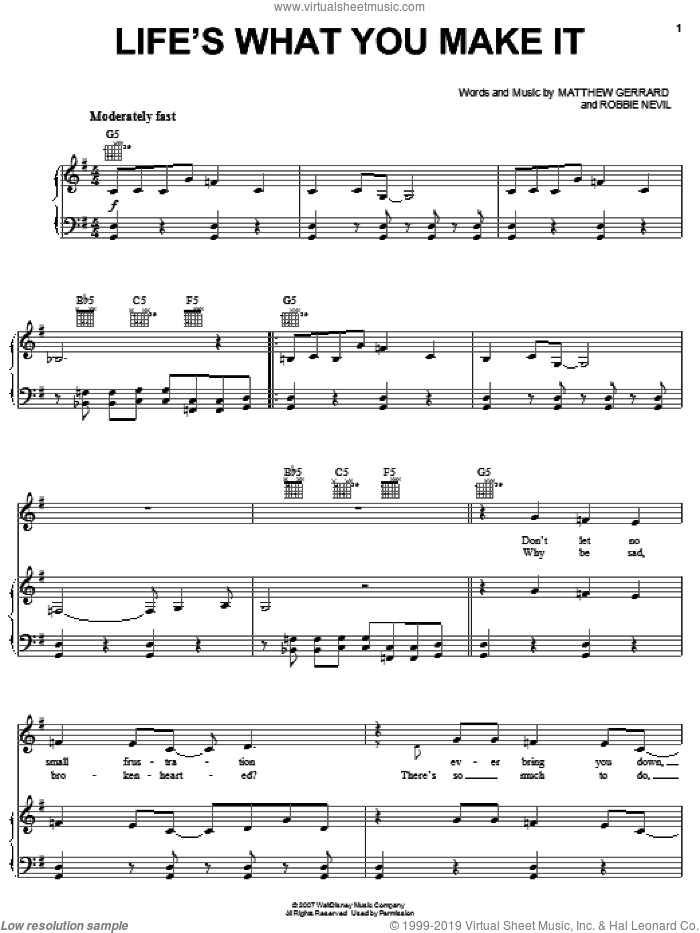 Life's What You Make It sheet music for voice, piano or guitar by Hannah Montana, Miley Cyrus, Matthew Gerrard and Robbie Nevil, intermediate skill level
