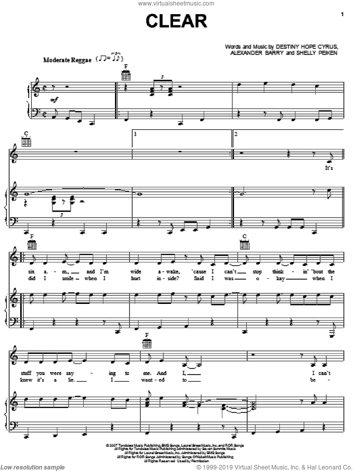 Clear sheet music for voice, piano or guitar by Shelly Peiken