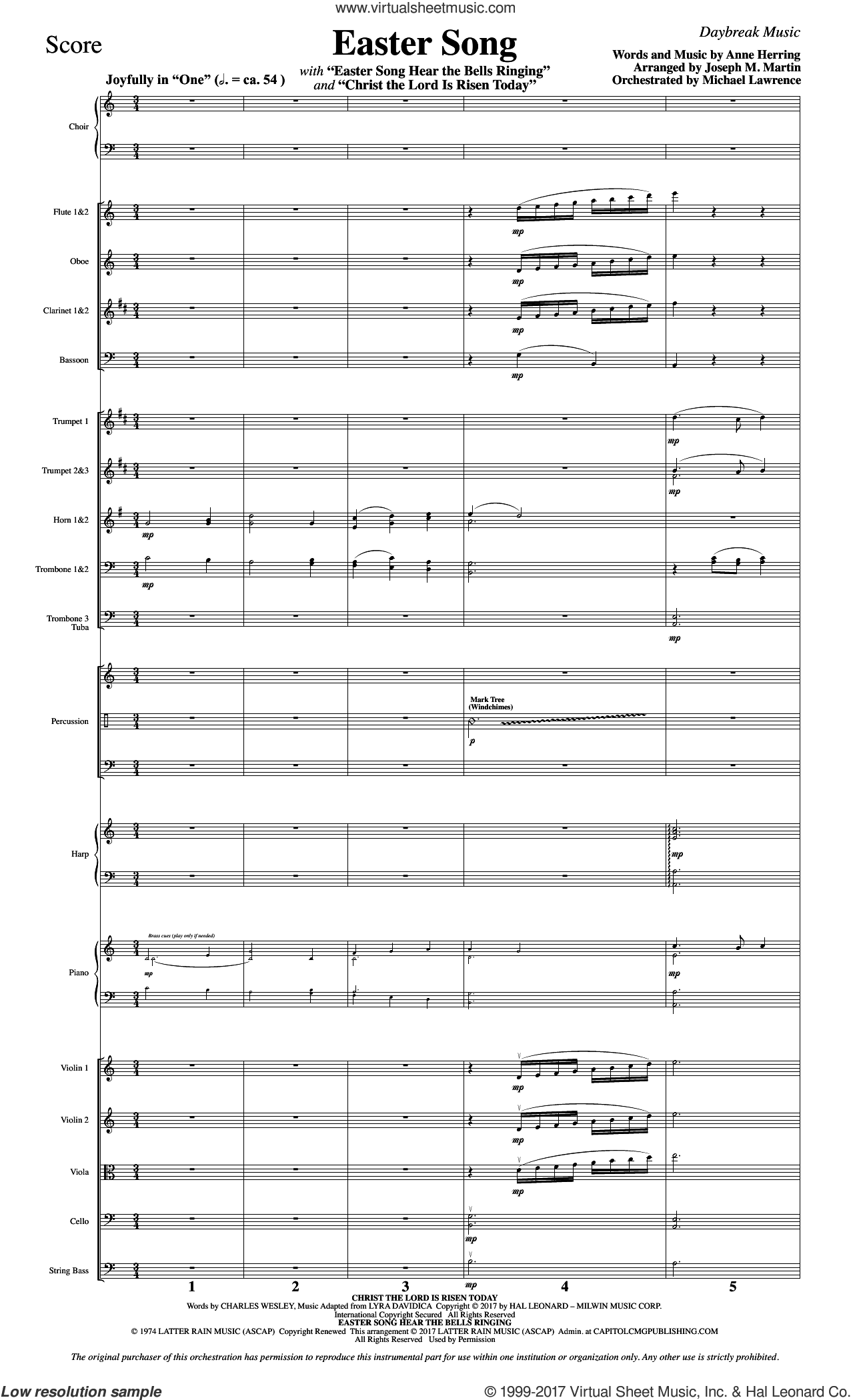 Easter Song (COMPLETE) sheet music for orchestra/band by Joseph M. Martin, 2nd Chapter Of Acts, Anne Herring and Glad, intermediate skill level