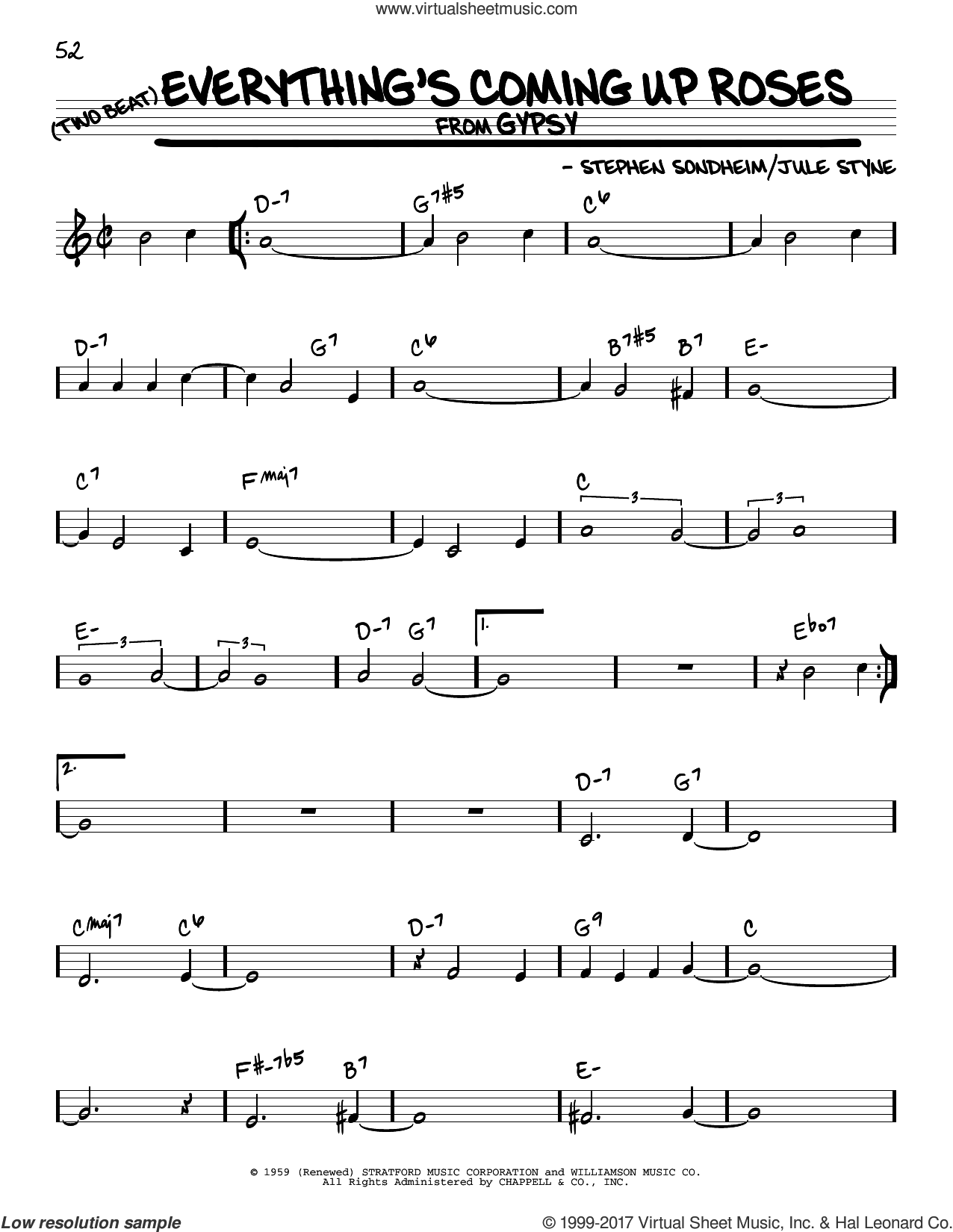 Everything's Coming Up Roses sheet music for voice and other instruments (real book) by Stephen Sondheim and Jule Styne, intermediate skill level