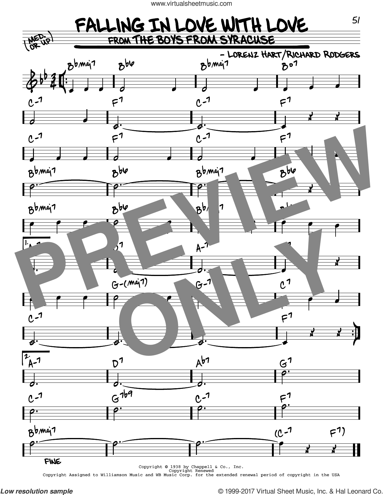 Falling In Love With Love sheet music for voice and other instruments (real book) by Rodgers & Hart, Lorenz Hart and Richard Rodgers, intermediate skill level