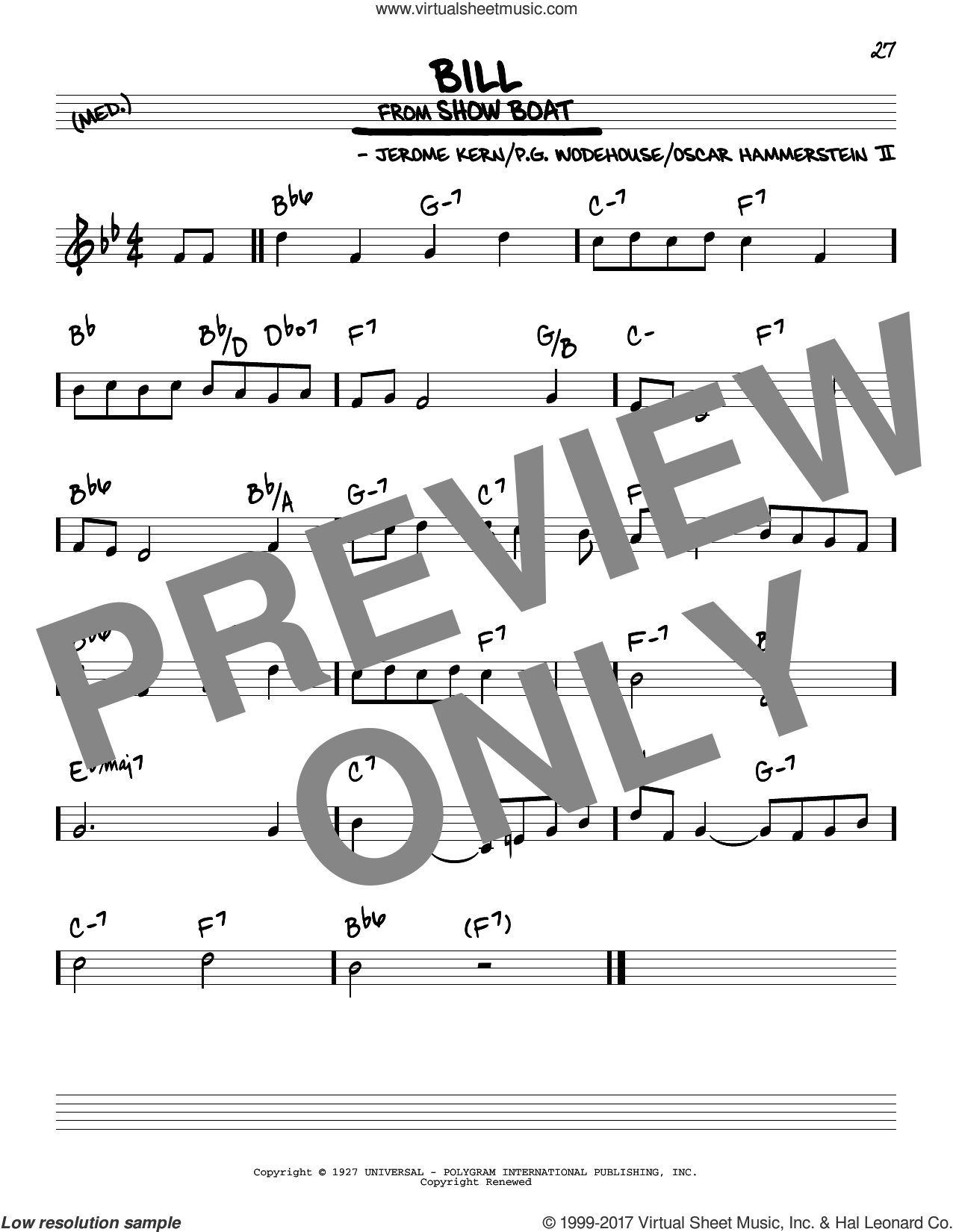 Bill sheet music for voice and other instruments (real book) by Oscar II Hammerstein, Jerome Kern and P.G. Wodehouse, intermediate skill level