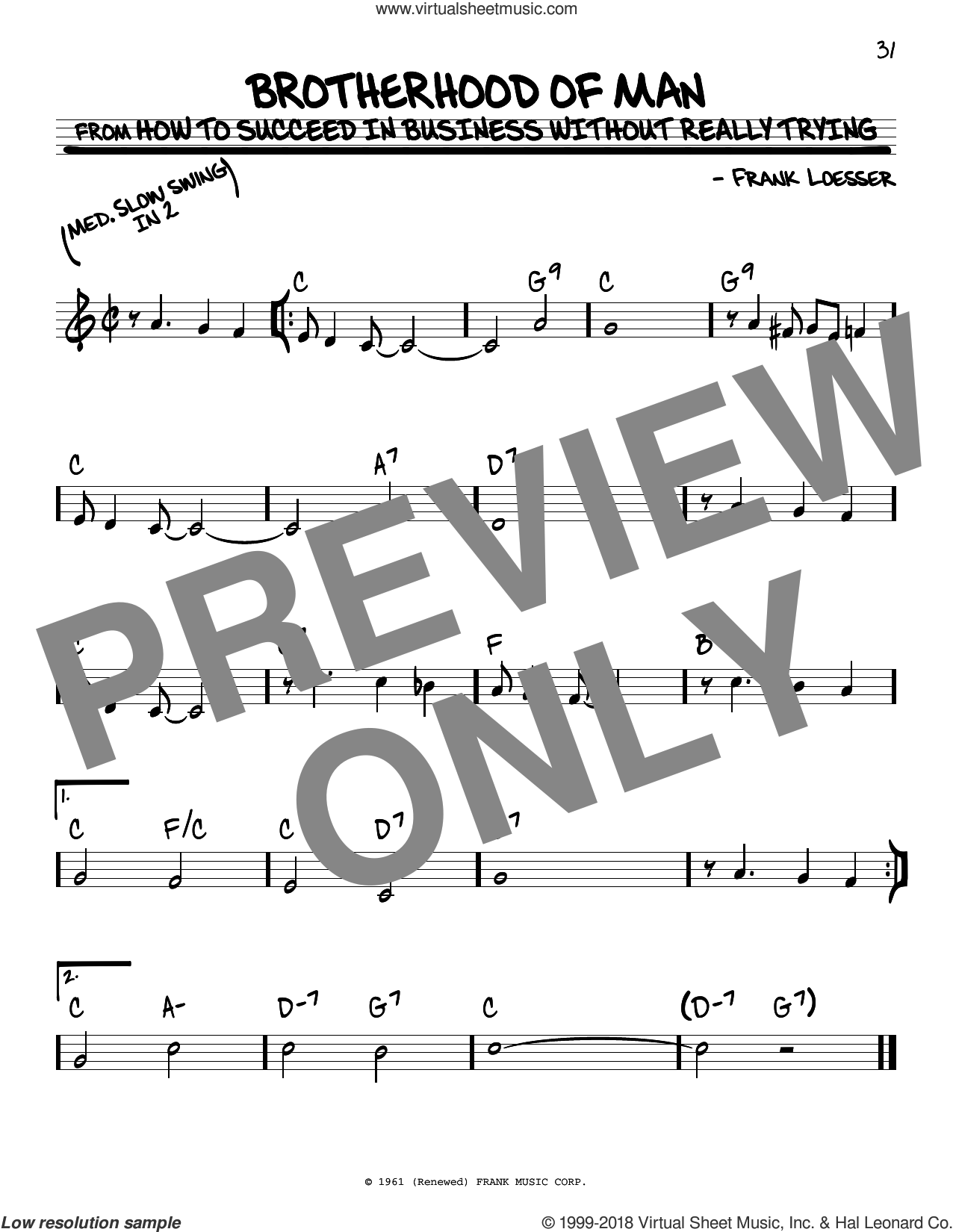 Brotherhood Of Man sheet music for voice and other instruments (real book) by Frank Loesser, intermediate skill level