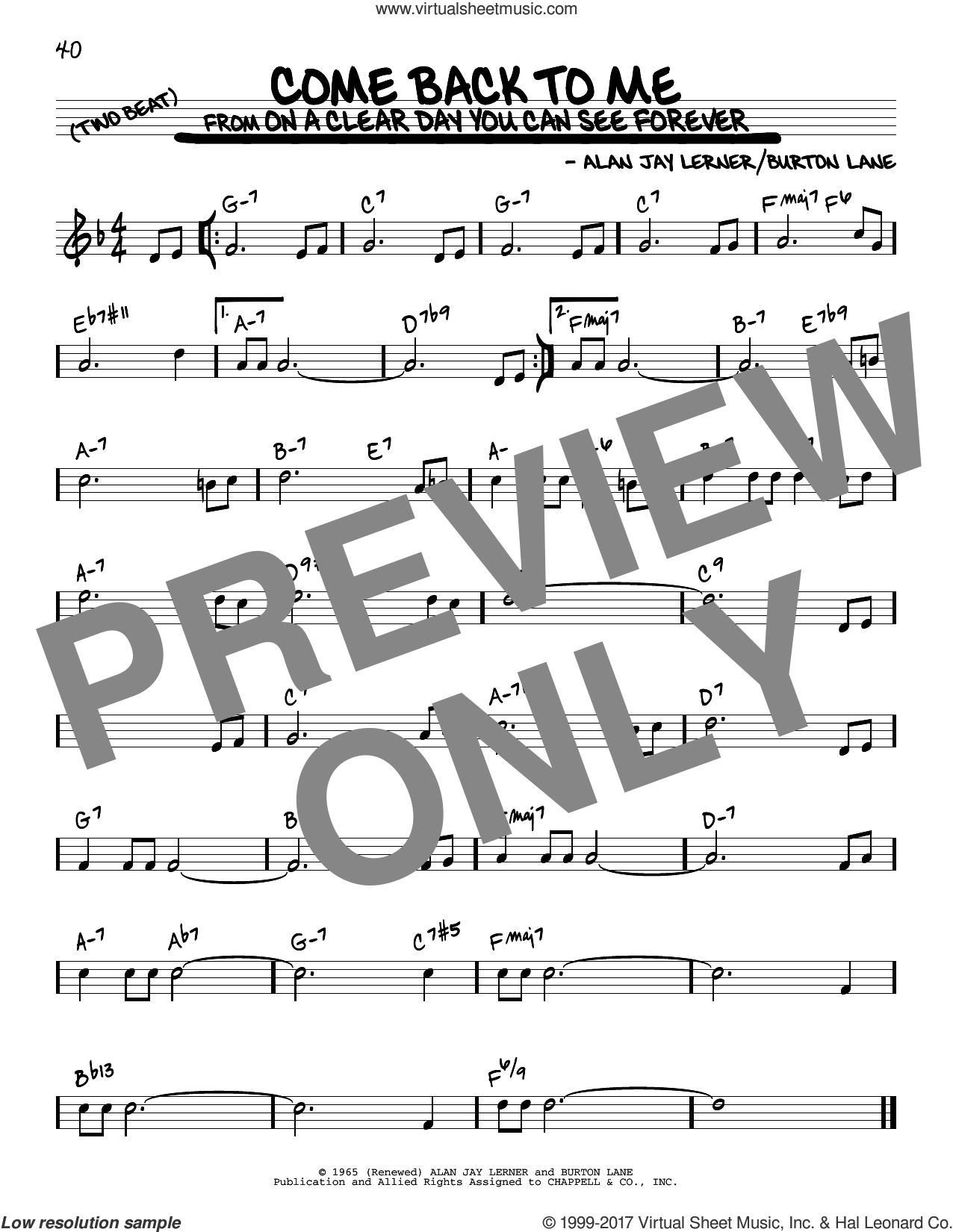 Come Back To Me sheet music for voice and other instruments (real book) by Alan Jay Lerner, Shirley Horn and Burton Lane, intermediate skill level