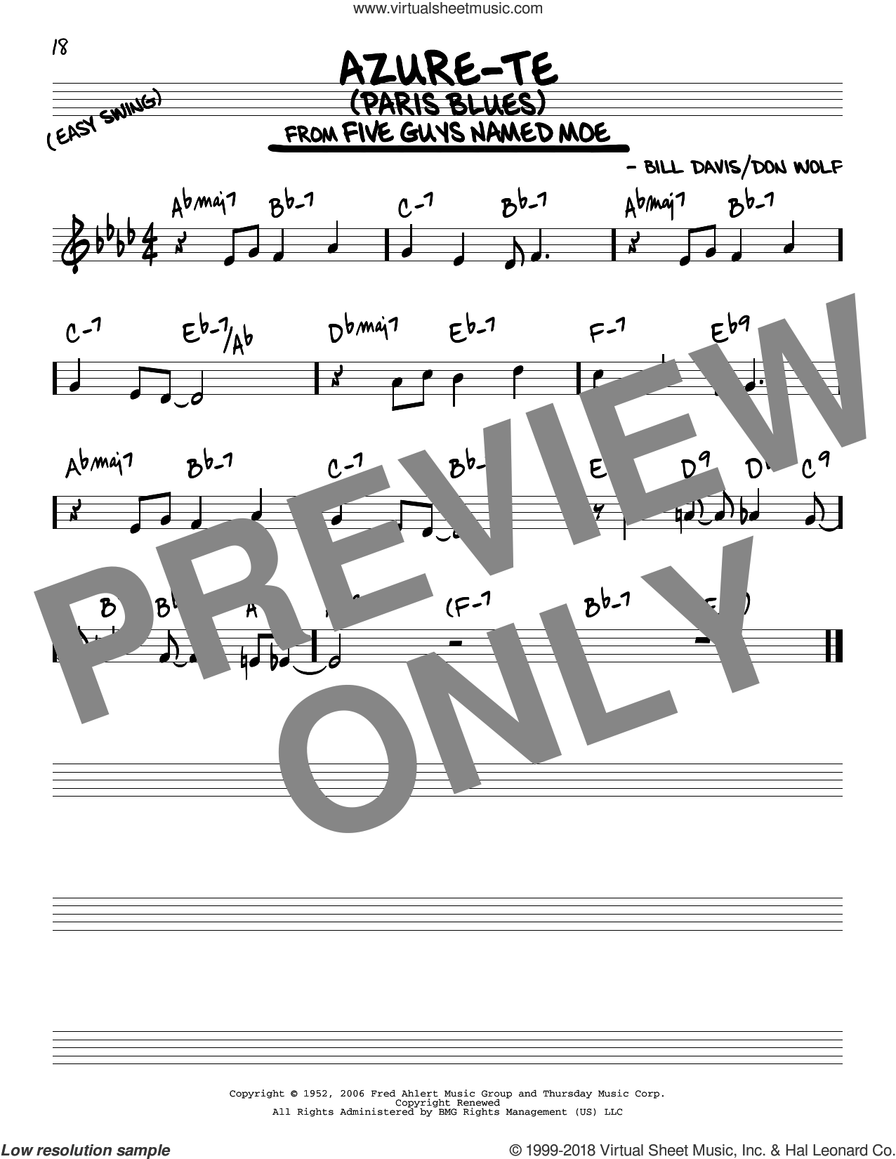 Azure-Te (Paris Blues) sheet music for voice and other instruments (real book) by Don Wolf and Bill Davis, intermediate skill level