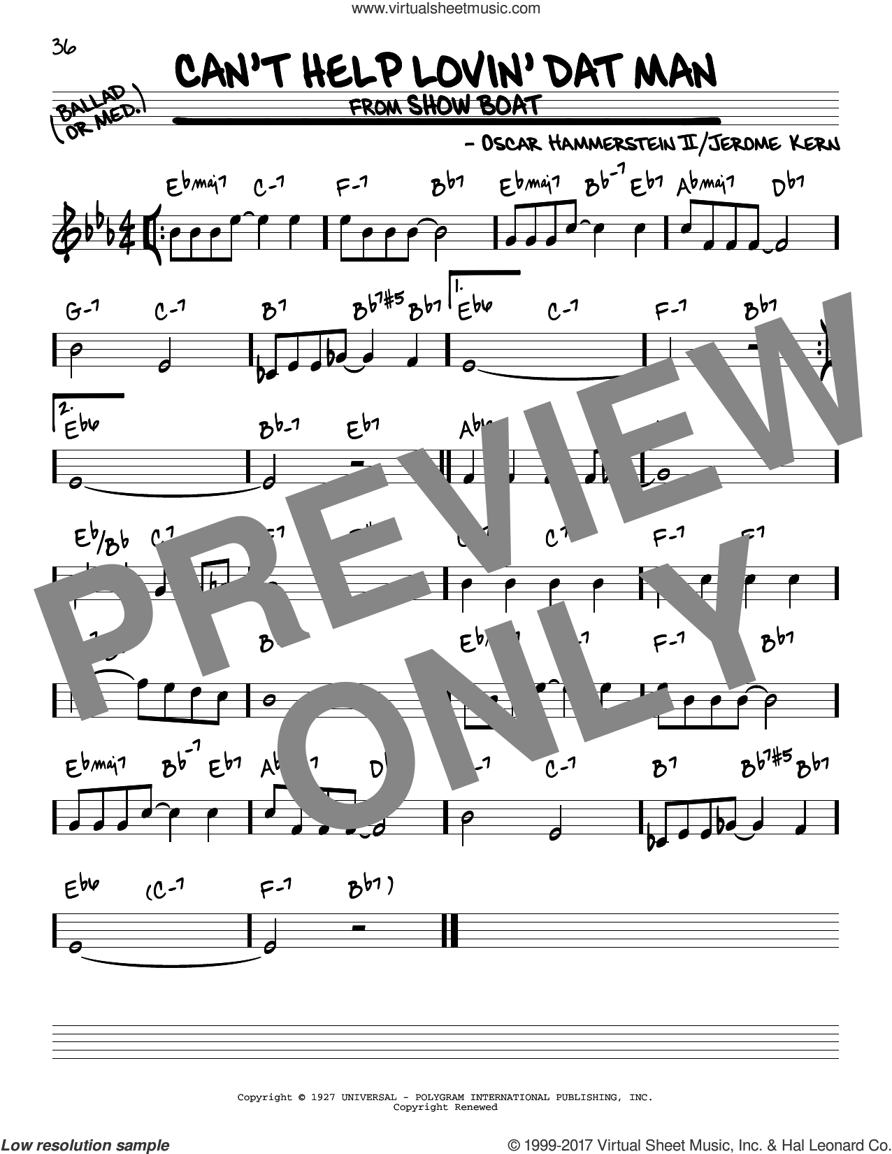 Can't Help Lovin' Dat Man sheet music for voice and other instruments (real book) by Oscar II Hammerstein, Annette Warren, Helen Morgan and Jerome Kern, intermediate skill level