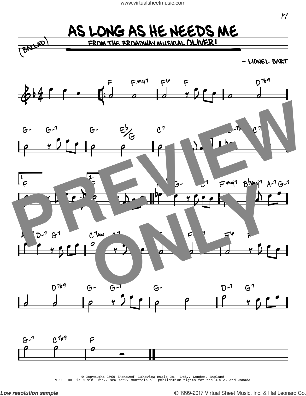 As Long As He Needs Me sheet music for voice and other instruments (real book) by Lionel Bart, intermediate skill level