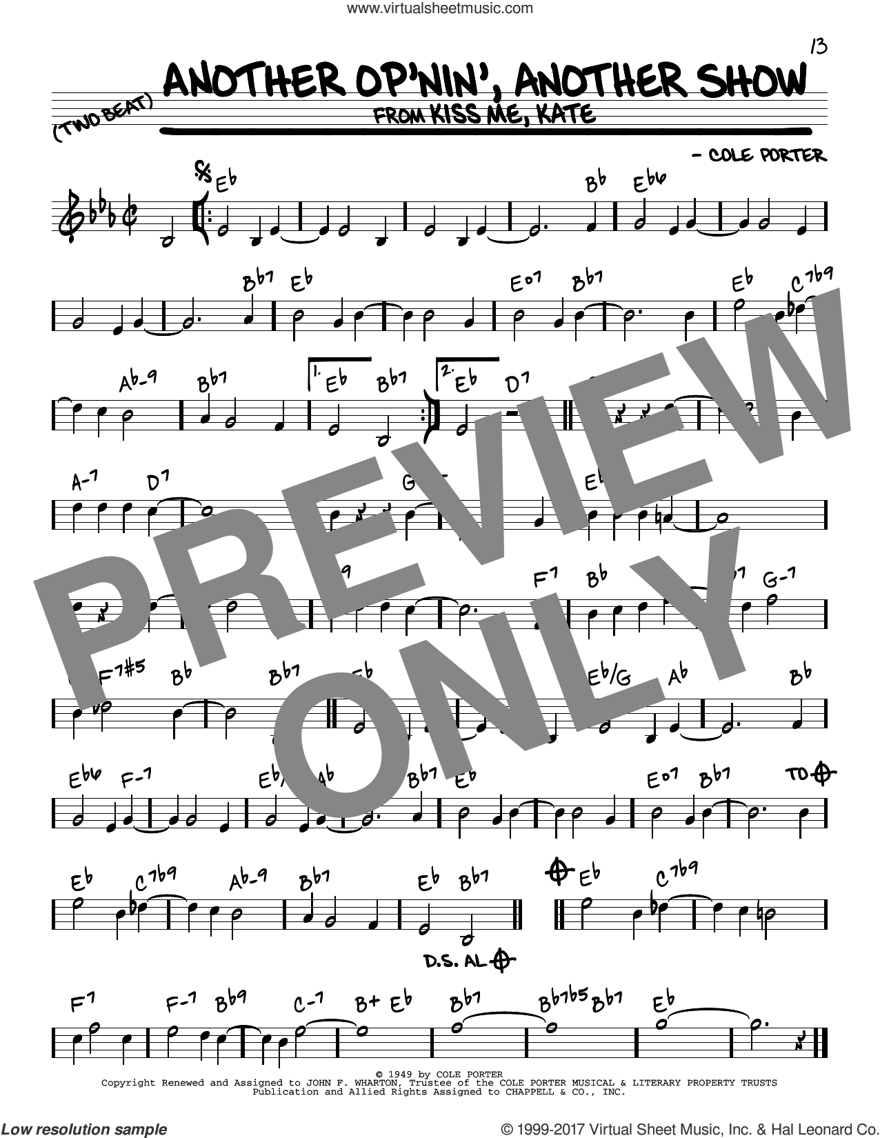 Another Op'nin', Another Show (from Kiss Me, Kate) sheet music for voice and other instruments (real book) by Cole Porter, intermediate skill level