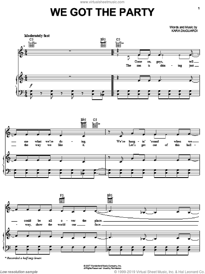 We Got The Party sheet music for voice, piano or guitar by Hannah Montana, Miley Cyrus, Greg Wells and Kara DioGuardi, intermediate. Score Image Preview.