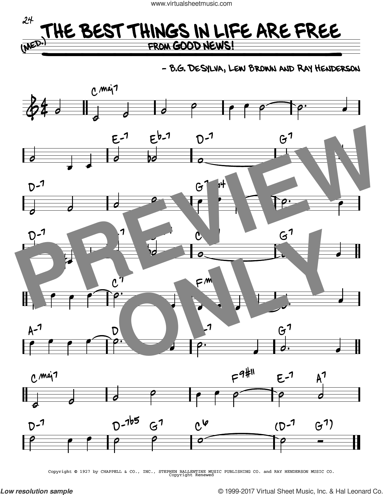 The Best Things In Life Are Free sheet music for voice and other instruments (real book) by Ray Henderson, Buddy DeSylva and Lew Brown, intermediate skill level