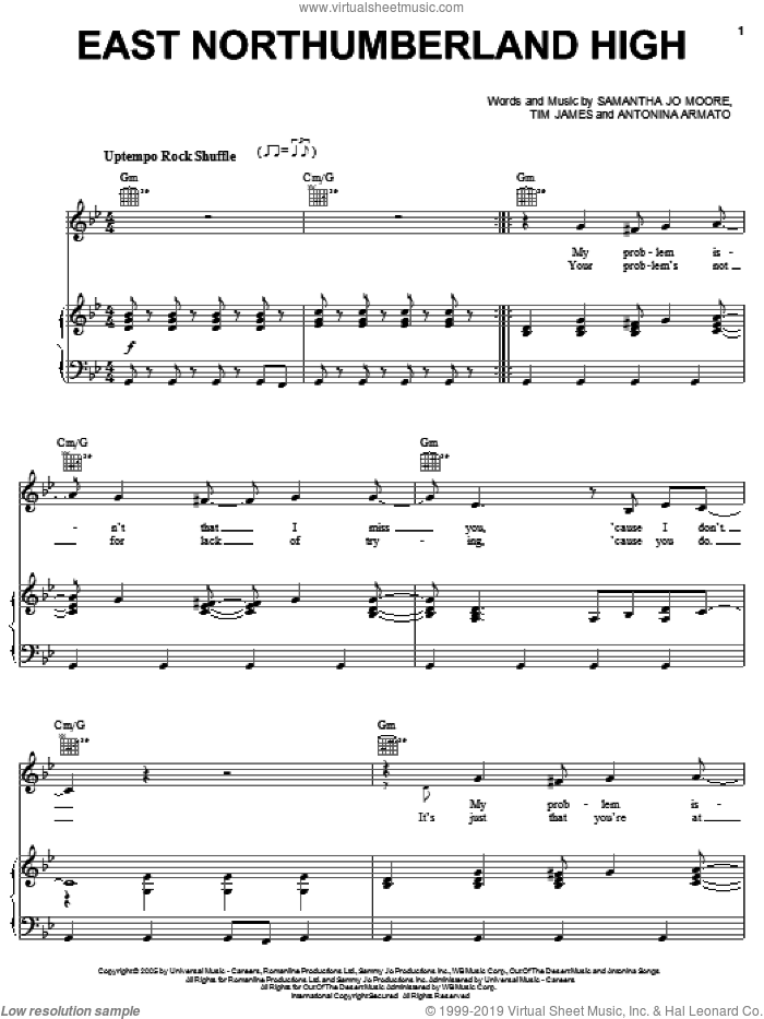 East Northumberland High sheet music for voice, piano or guitar by Hannah Montana, Miley Cyrus, Antonina Armato, Samantha Jo Moore and Tim James, intermediate. Score Image Preview.