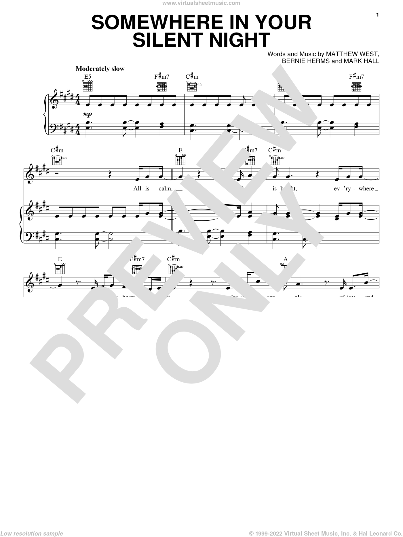 Somewhere In Your Silent Night sheet music for voice, piano or guitar by Casting Crowns, Bernie Herms, Mark Hall and Matthew West, intermediate. Score Image Preview.