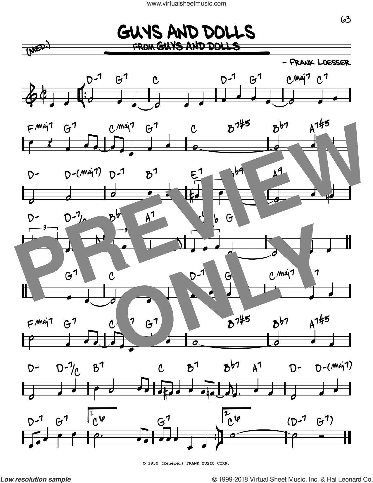 Guys And Dolls sheet music for voice and other instruments (real book) by Frank Loesser, intermediate skill level