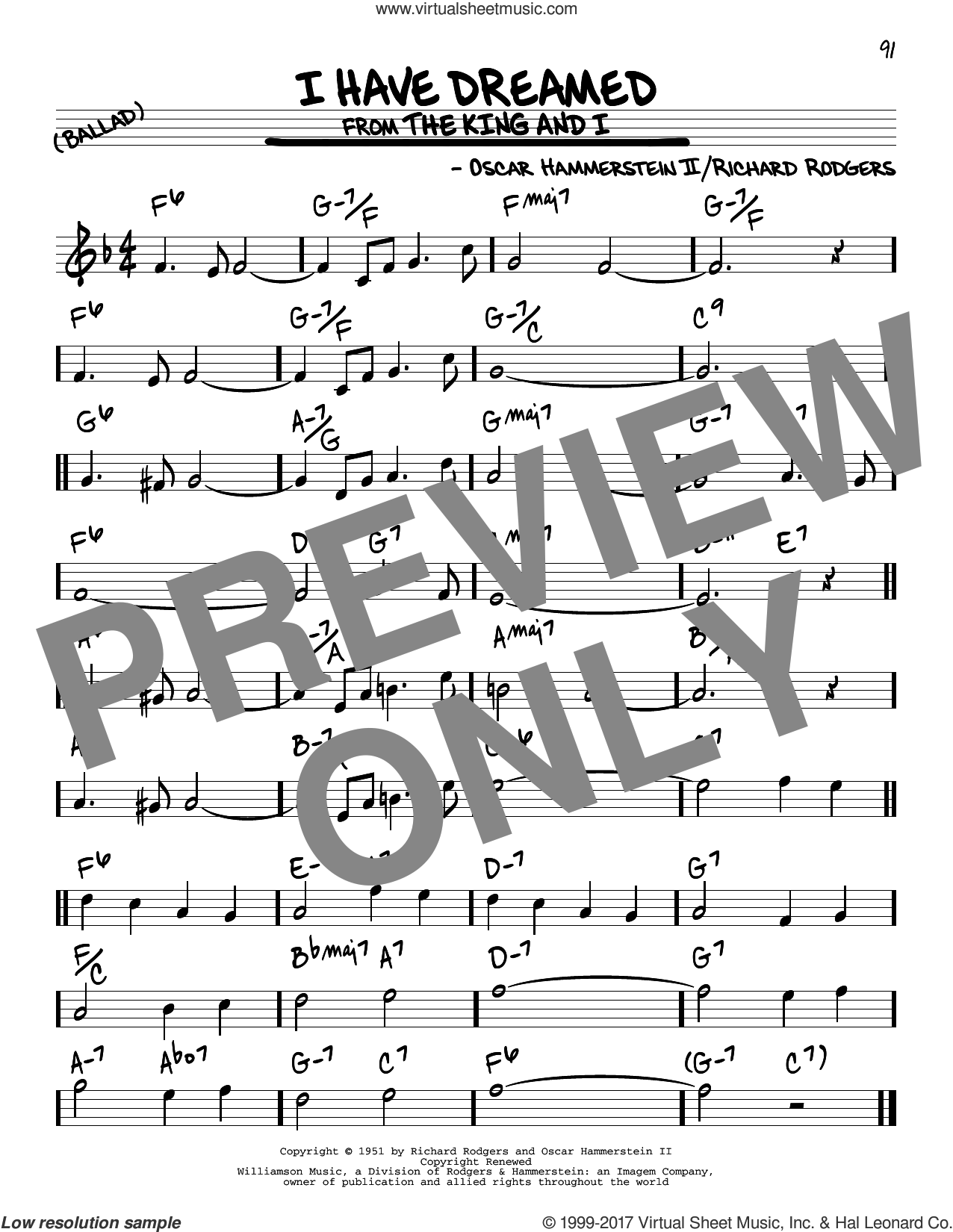 I Have Dreamed sheet music for voice and other instruments (real book) by Rodgers & Hammerstein, Oscar II Hammerstein and Richard Rodgers, intermediate skill level