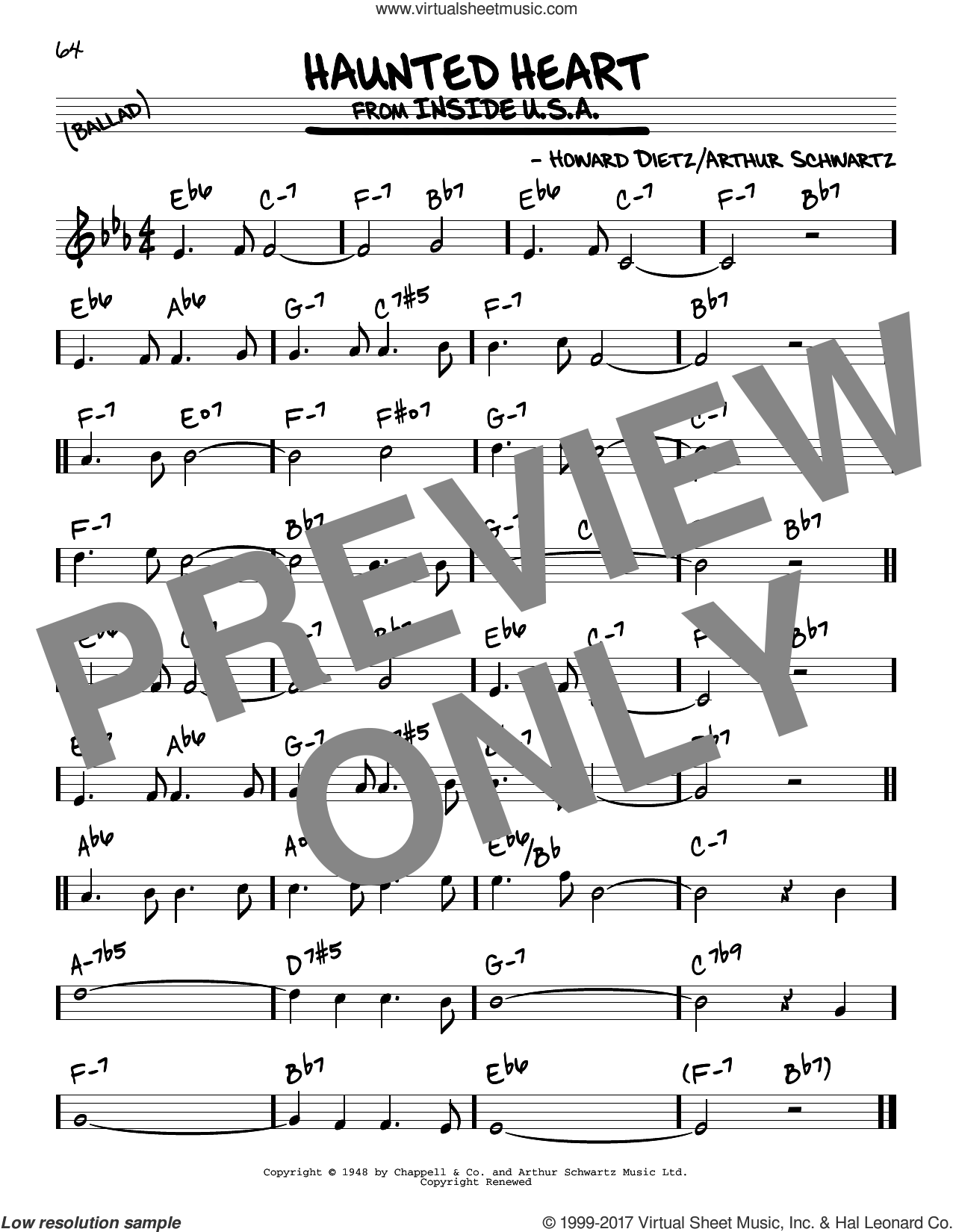 Haunted Heart sheet music for voice and other instruments (real book) by Arthur Schwartz and Howard Dietz, intermediate skill level