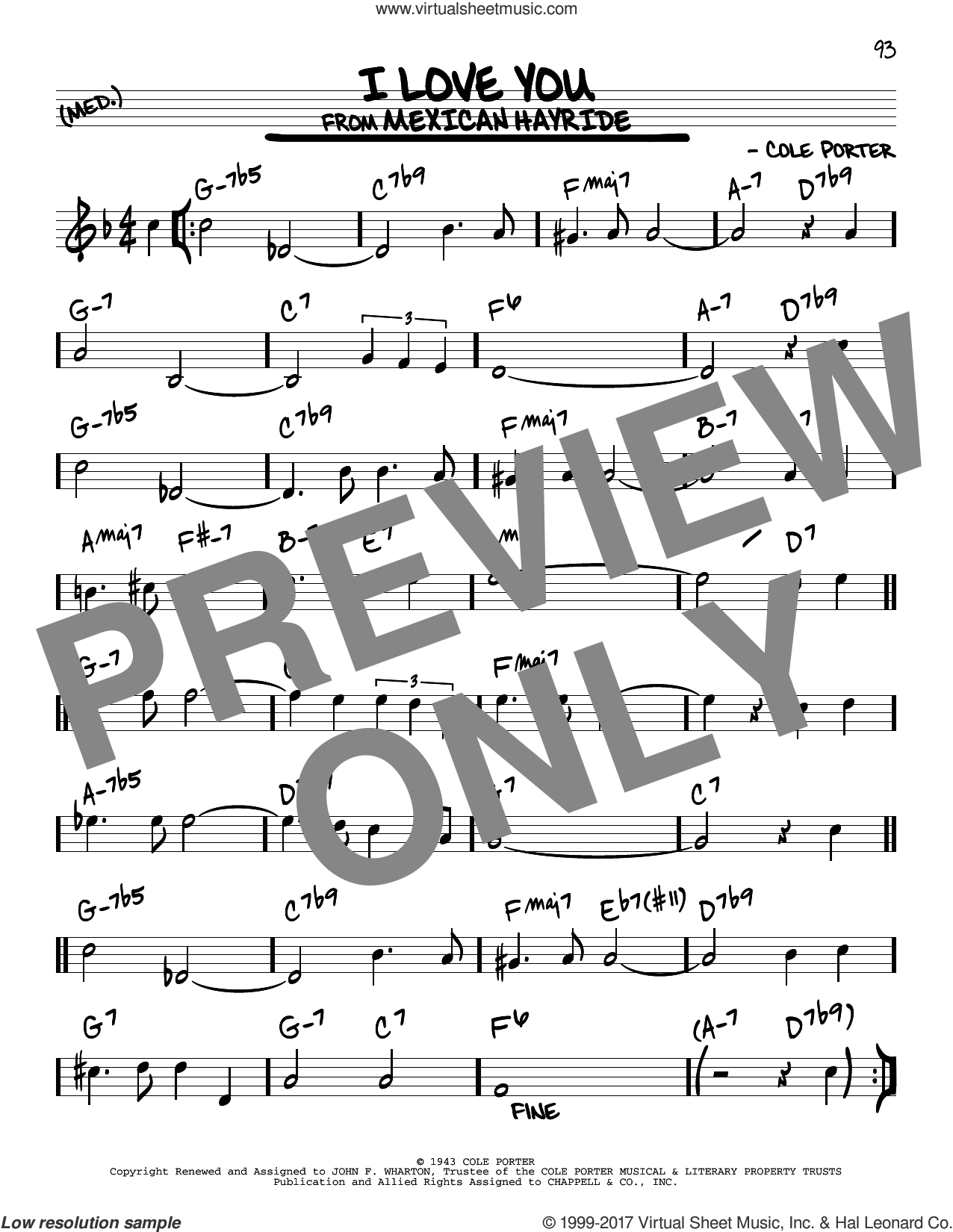 I Love You sheet music for voice and other instruments (real book) by Cole Porter, intermediate skill level