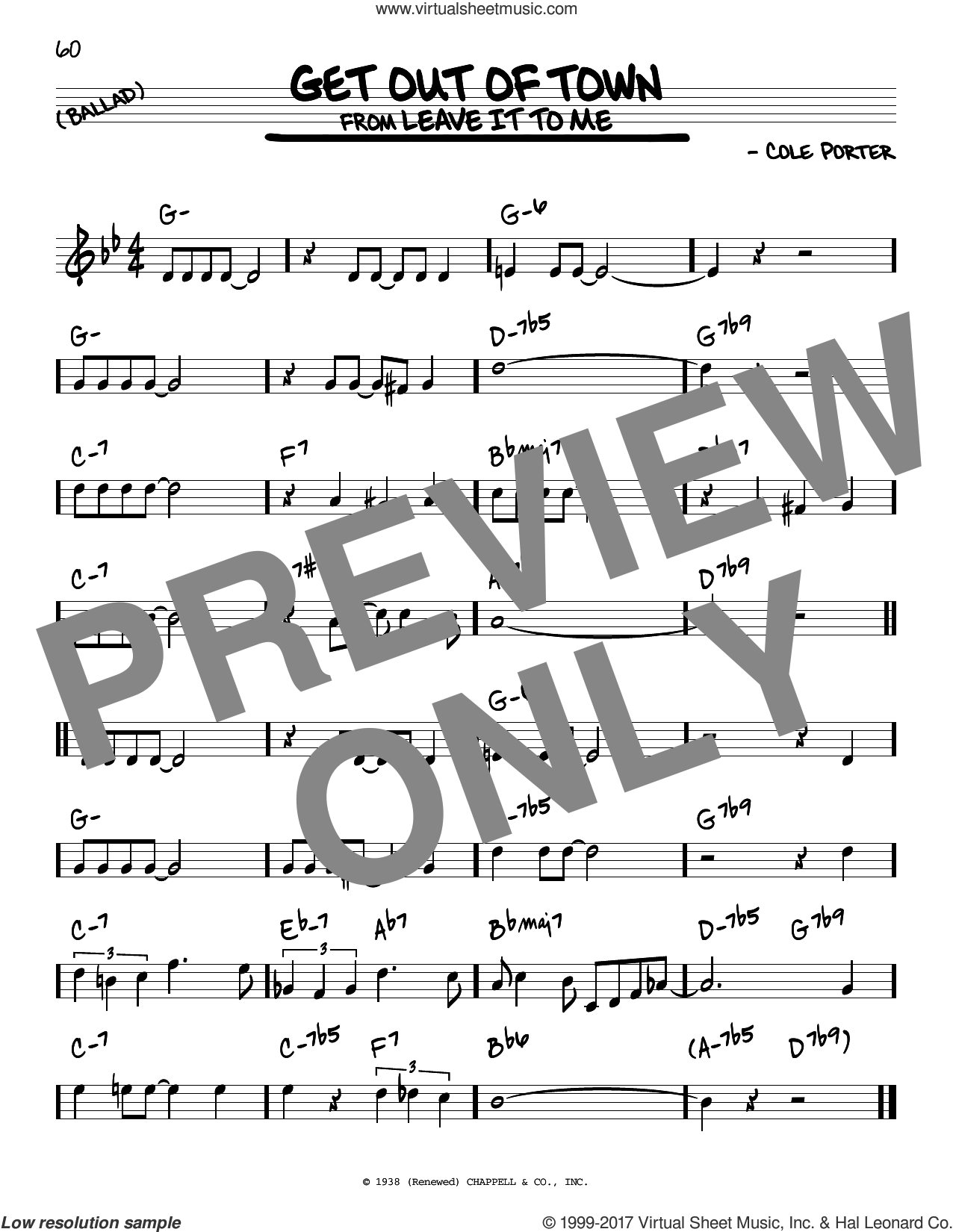 Get Out Of Town sheet music for voice and other instruments (real book) by Cole Porter, intermediate skill level