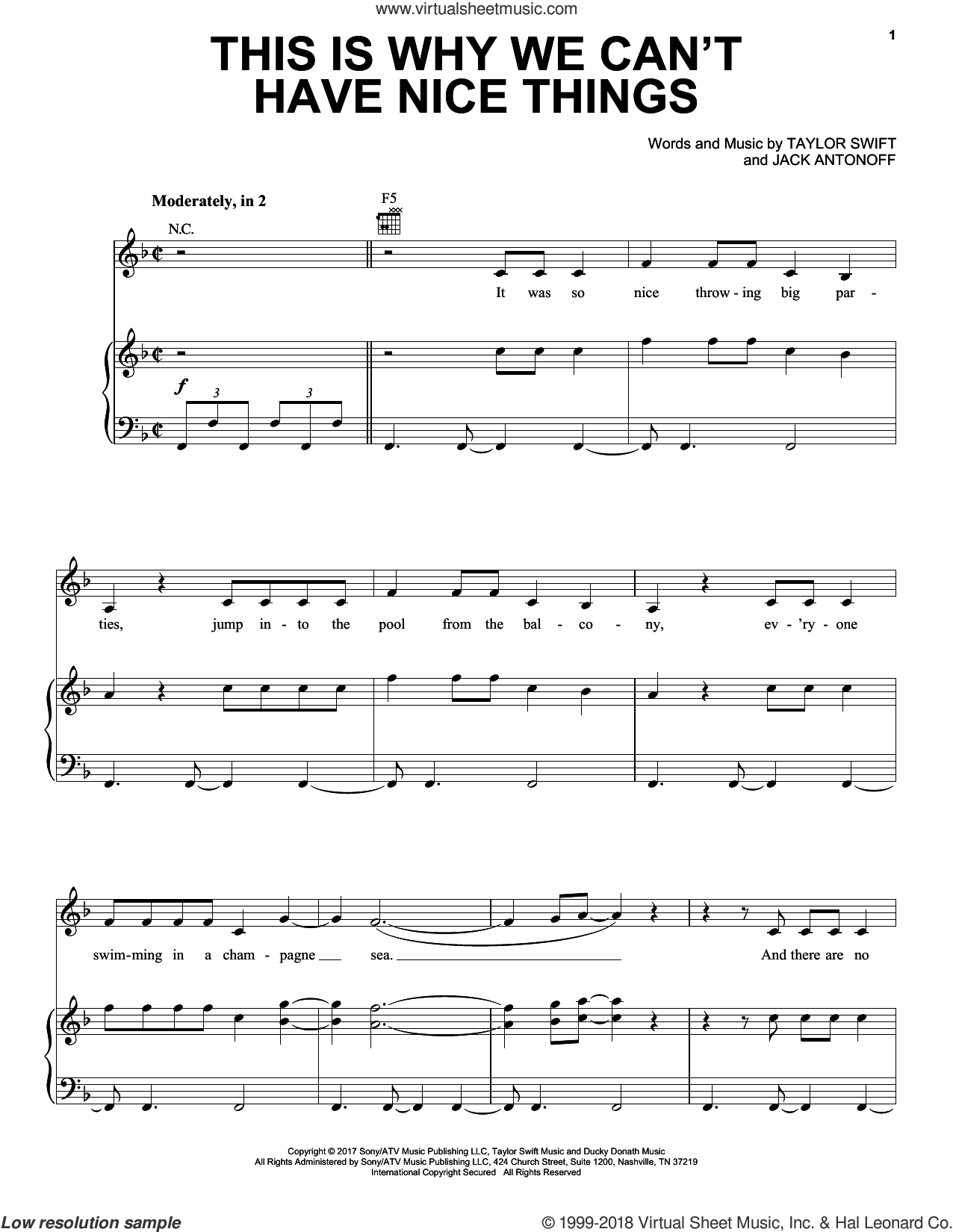 This Is Why We Can't Have Nice Things sheet music for voice, piano or guitar by Taylor Swift and Jack Antonoff, intermediate skill level