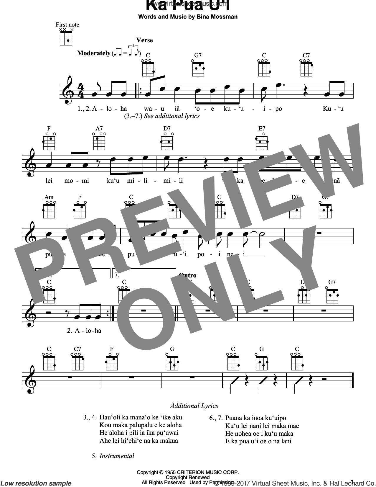 Ka Pua U'I sheet music for ukulele by Bina Mossman, intermediate skill level