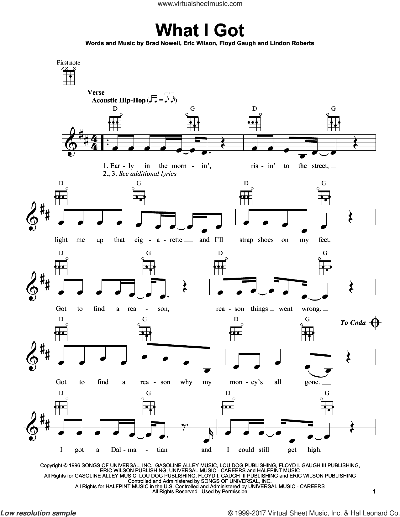 What I Got sheet music for ukulele by Sublime, Brad Nowell, Eric Wilson, Floyd Gaugh and Lindon Roberts, intermediate skill level