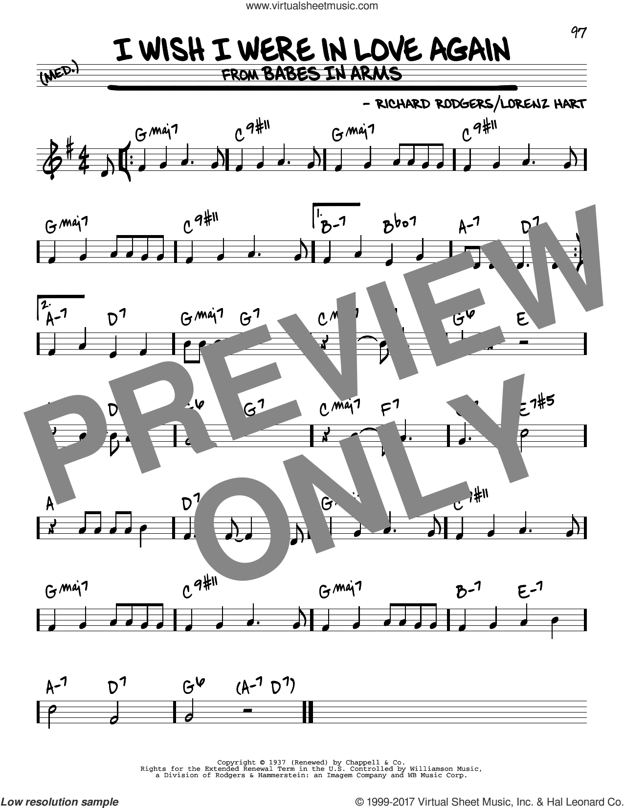 I Wish I Were In Love Again sheet music for voice and other instruments (real book) by Rodgers & Hart, Lorenz Hart and Richard Rodgers, intermediate skill level