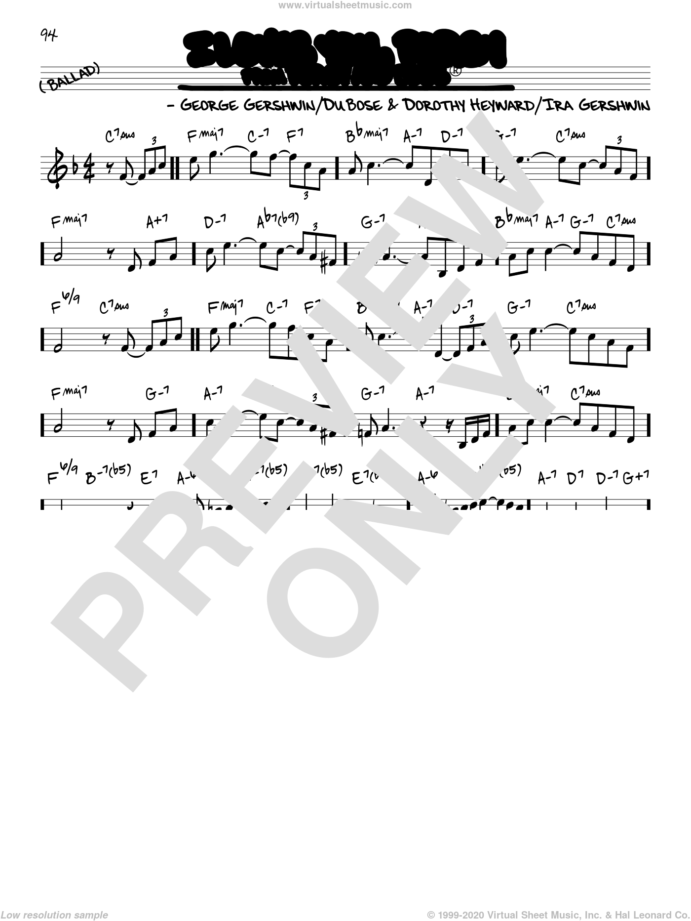 I Loves You, Porgy sheet music for voice and other instruments (real book) by George Gershwin, Dorothy Heyward, DuBose Heyward and Ira Gershwin, intermediate skill level