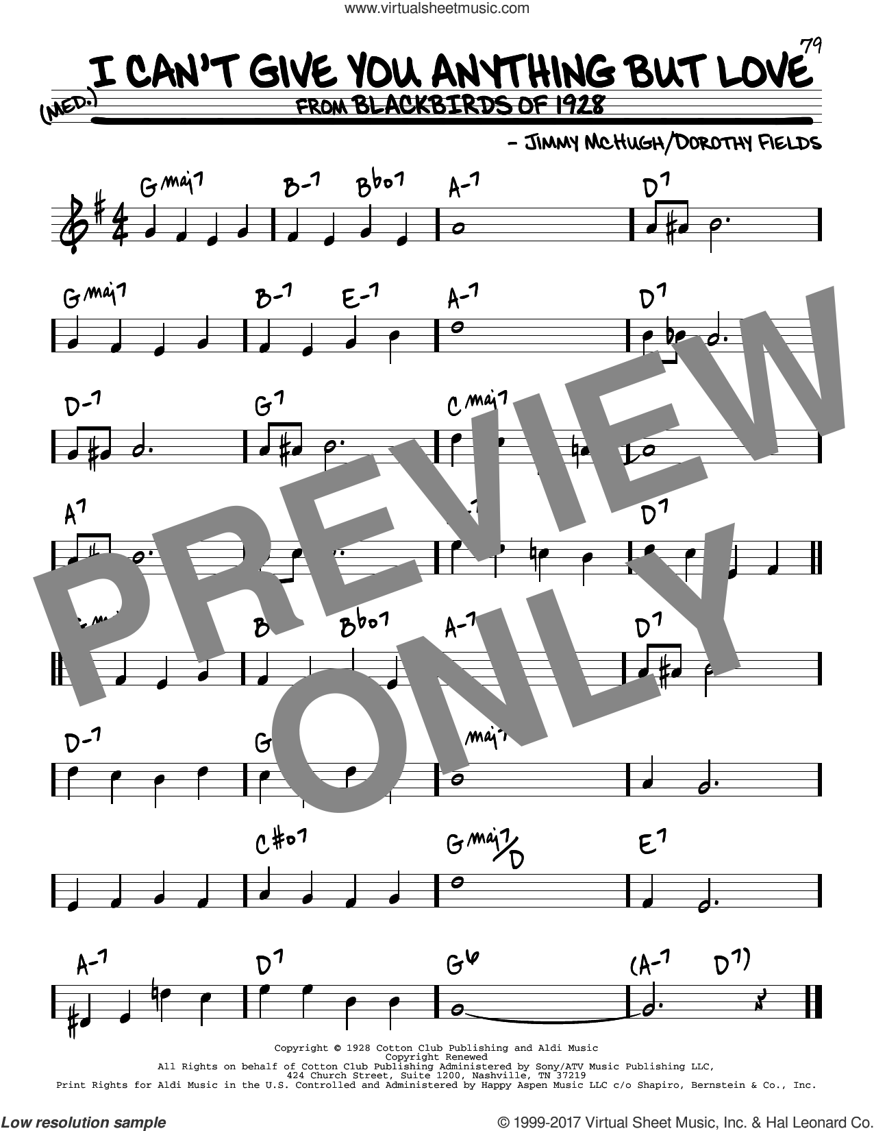 I Can't Give You Anything But Love sheet music for voice and other instruments (real book) by Dorothy Fields and Jimmy McHugh, intermediate skill level
