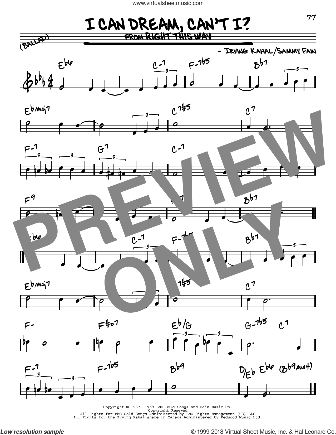 I Can Dream, Can't I? (from Right This Way) sheet music for voice and other instruments (real book) by The Andrews Sisters, Irving Kahal and Sammy Fain, intermediate skill level