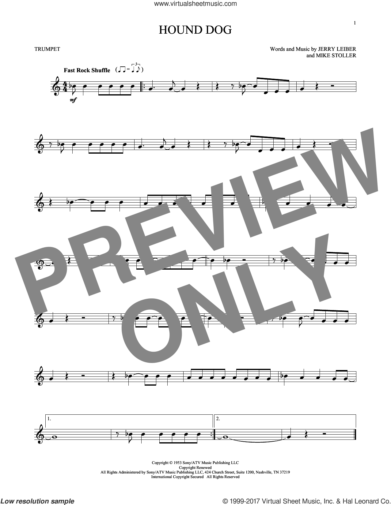 Hound Dog sheet music for trumpet solo by Elvis Presley, Jerry Leiber and Mike Stoller, intermediate skill level