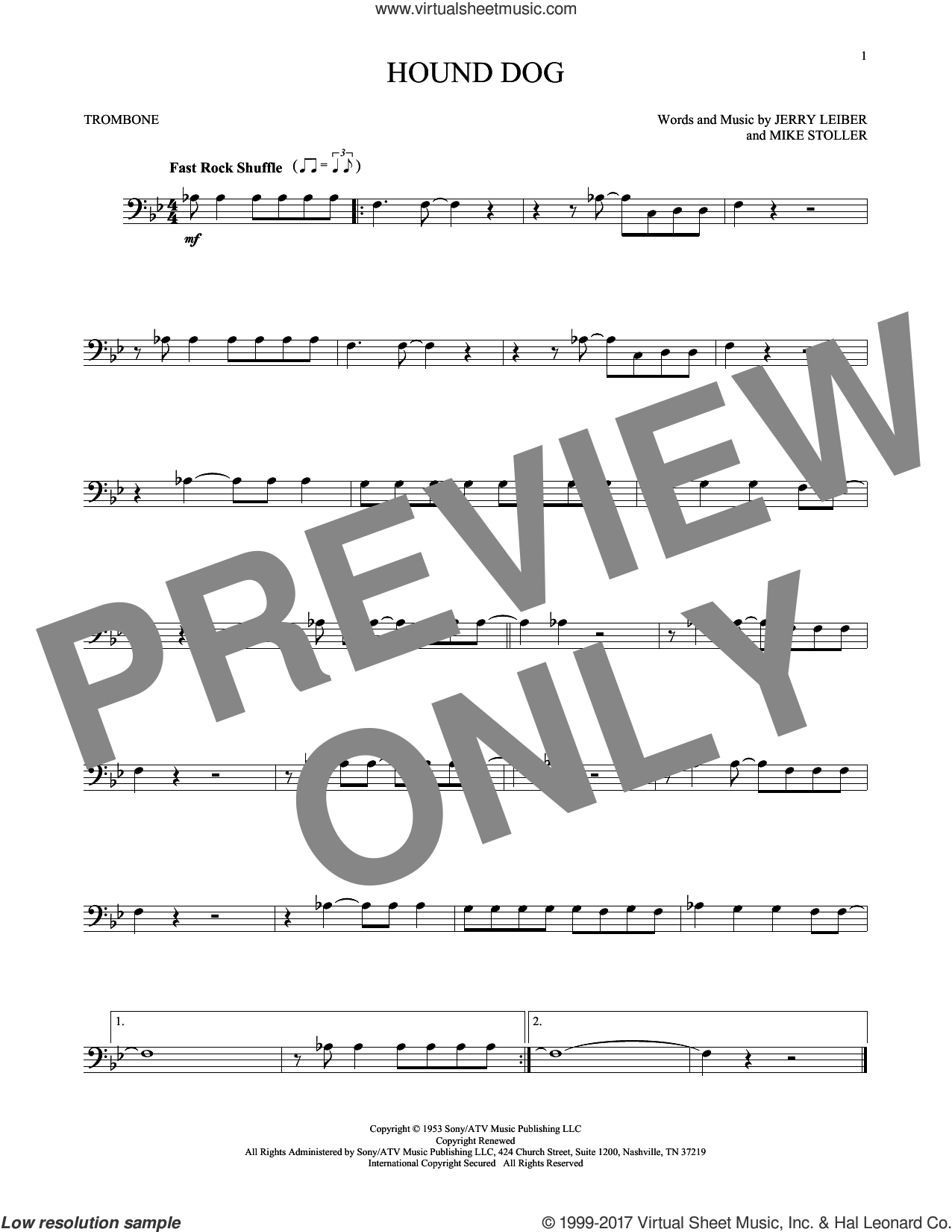Hound Dog sheet music for trombone solo by Elvis Presley, Jerry Leiber and Mike Stoller, intermediate skill level