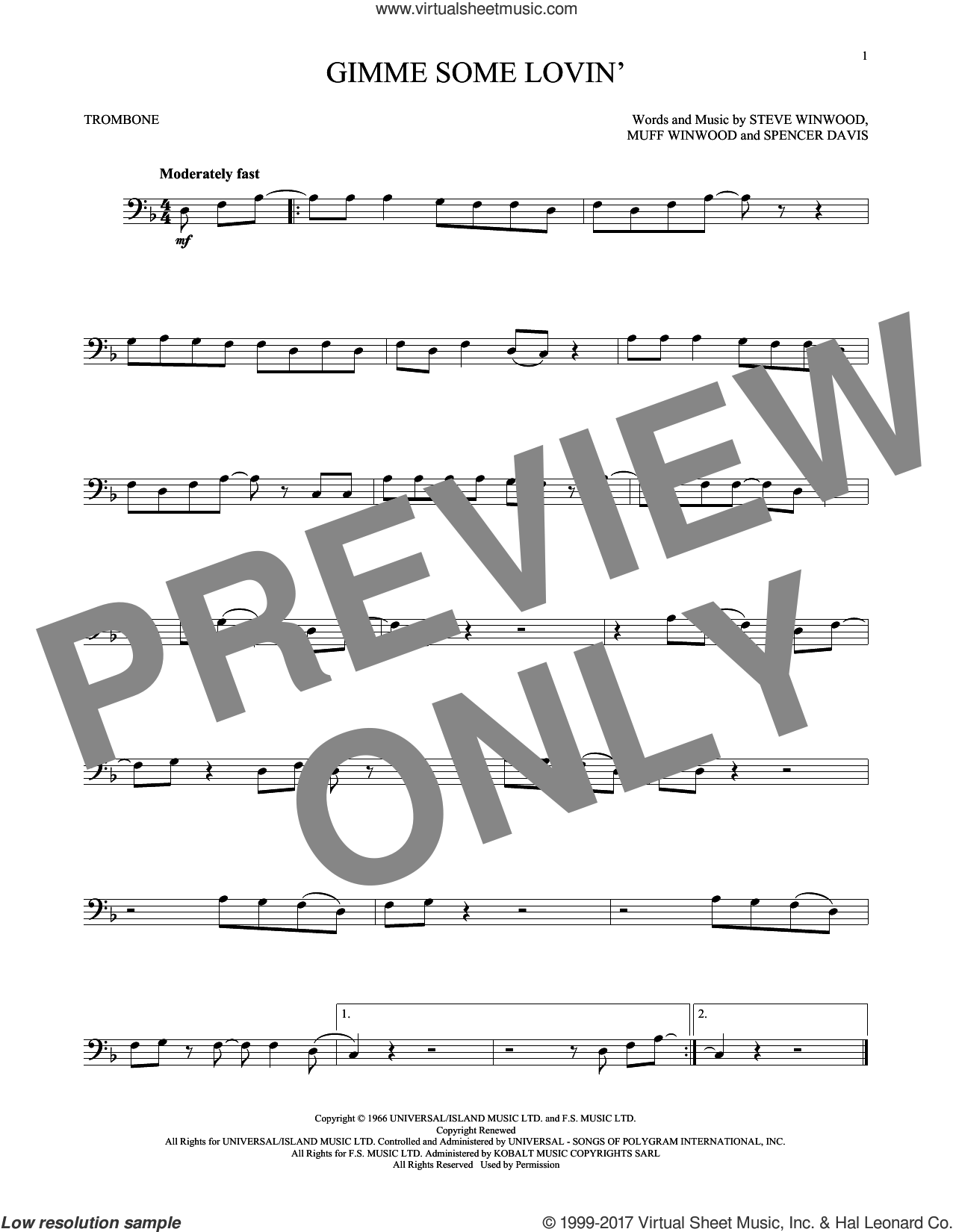 Gimme Some Lovin' sheet music for trombone solo by The Spencer Davis Group, Muff Winwood, Spencer Davis and Steve Winwood, intermediate skill level
