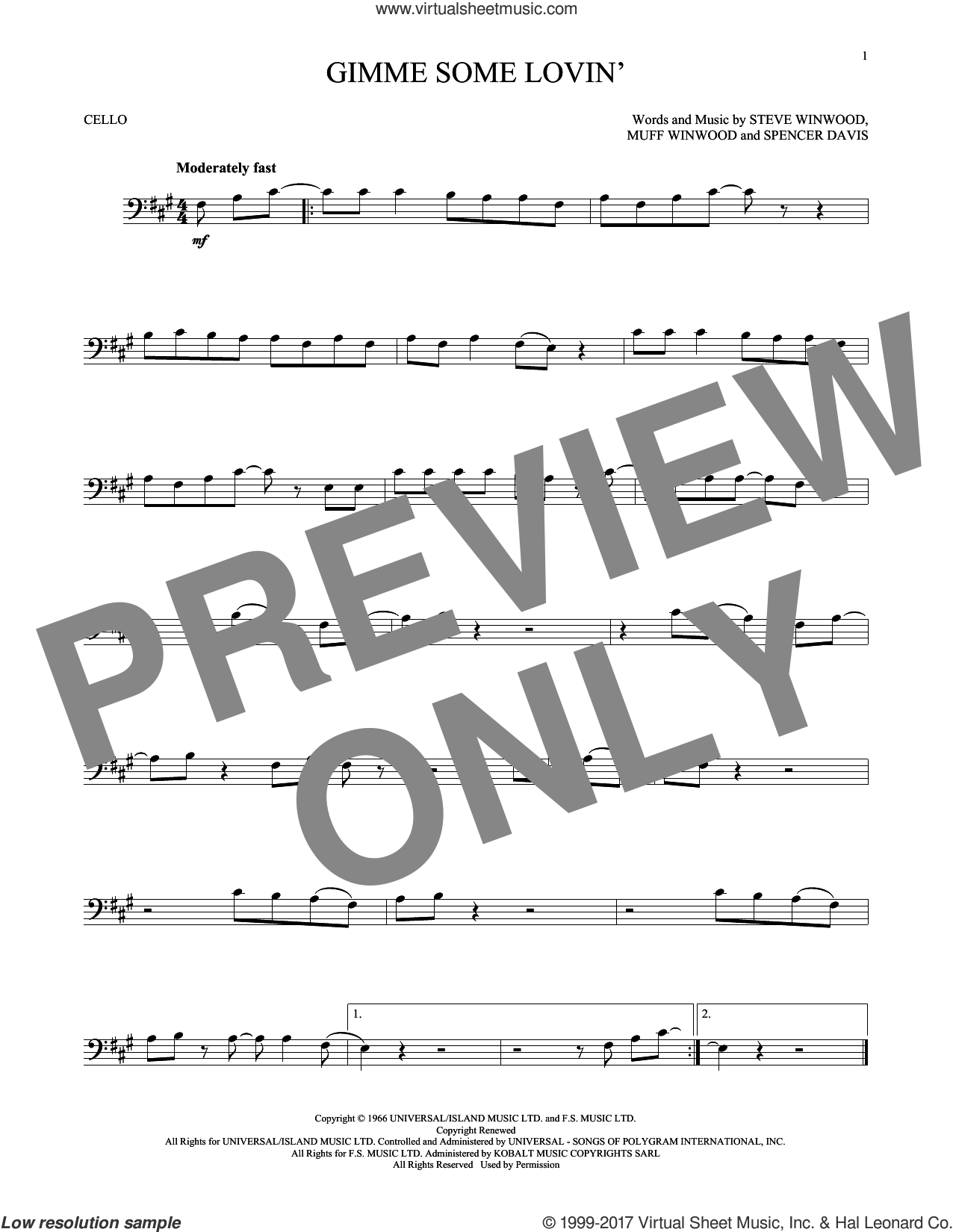 Gimme Some Lovin' sheet music for cello solo by The Spencer Davis Group, Muff Winwood, Spencer Davis and Steve Winwood, intermediate skill level
