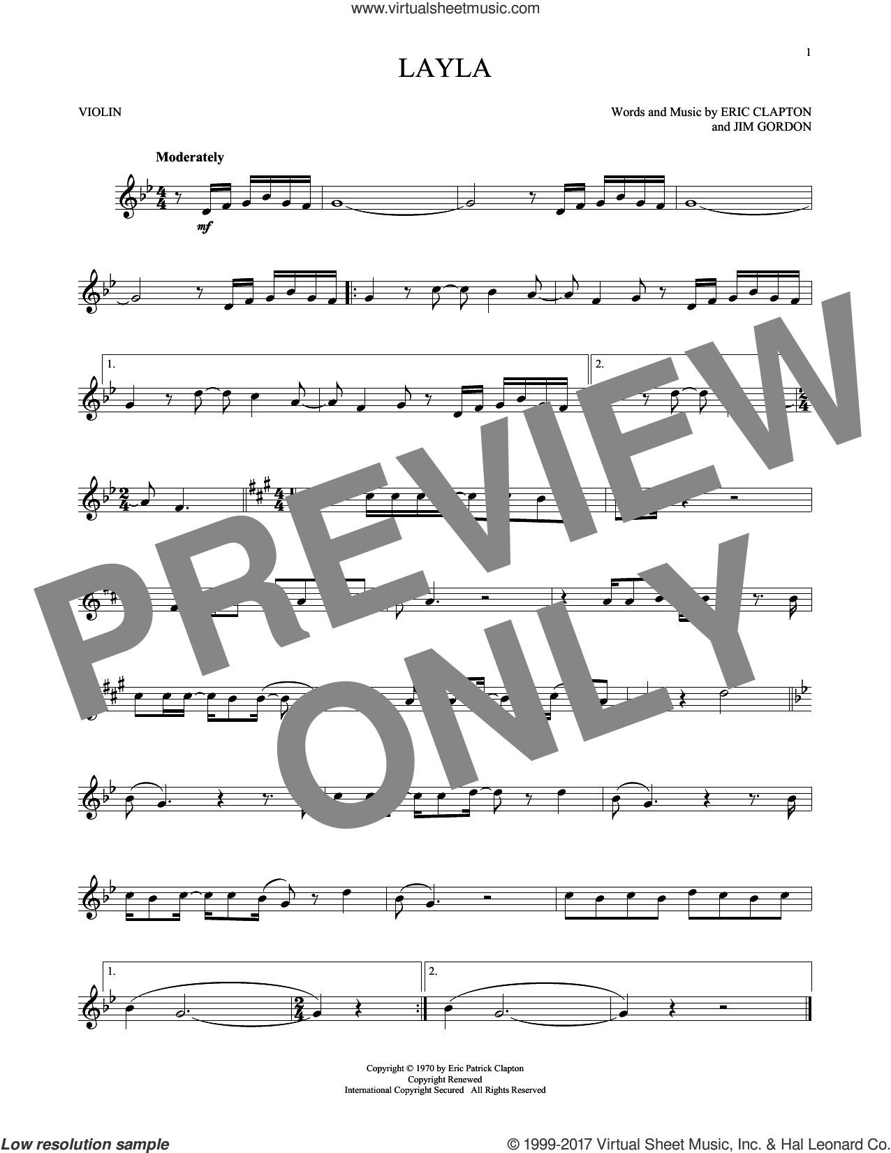 Layla sheet music for violin solo by Eric Clapton, Derek And The Dominos and Jim Gordon, intermediate skill level
