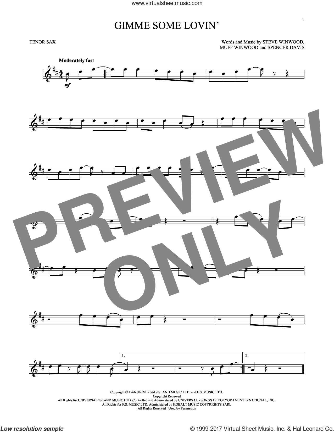 Gimme Some Lovin' sheet music for tenor saxophone solo by The Spencer Davis Group, Muff Winwood, Spencer Davis and Steve Winwood, intermediate skill level