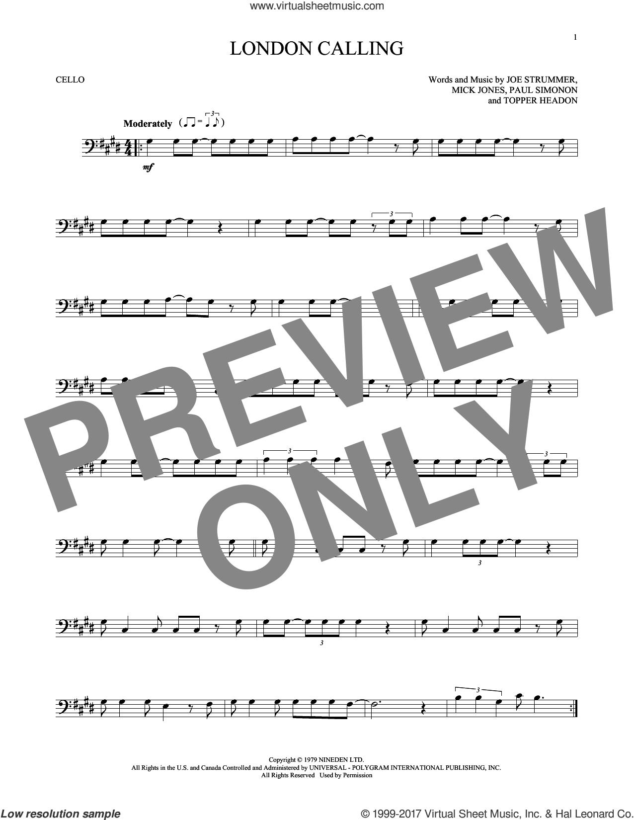 London Calling sheet music for cello solo by The Clash, Joe Strummer, Mick Jones, Paul Simonon and Topper Headon, intermediate skill level